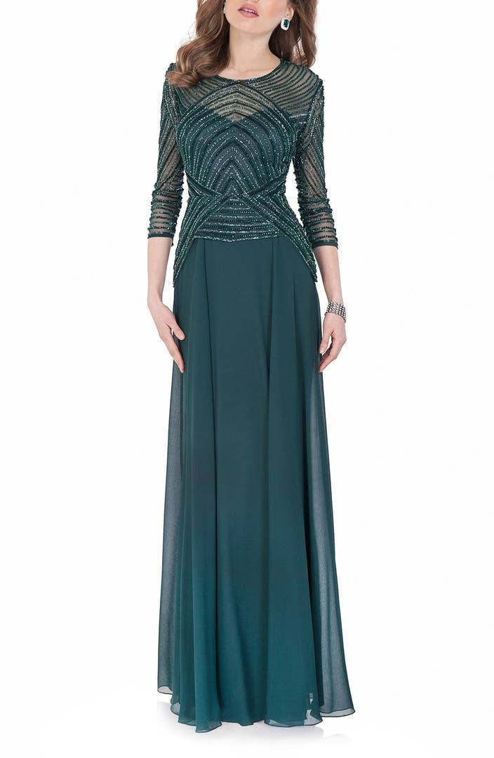 Terani Couture Embellished Chiffon Fit & Flare Dress ...