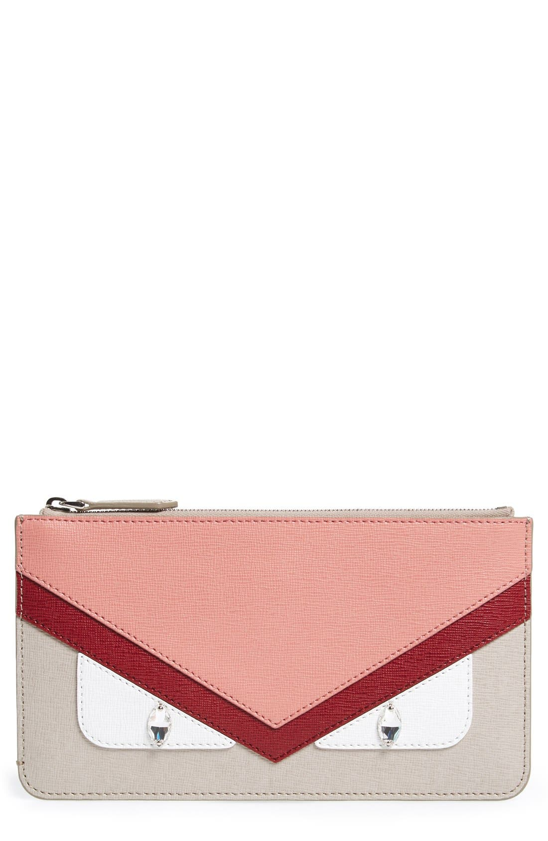 Main Image - Fendi 'Monster' Leather Zip Pouch