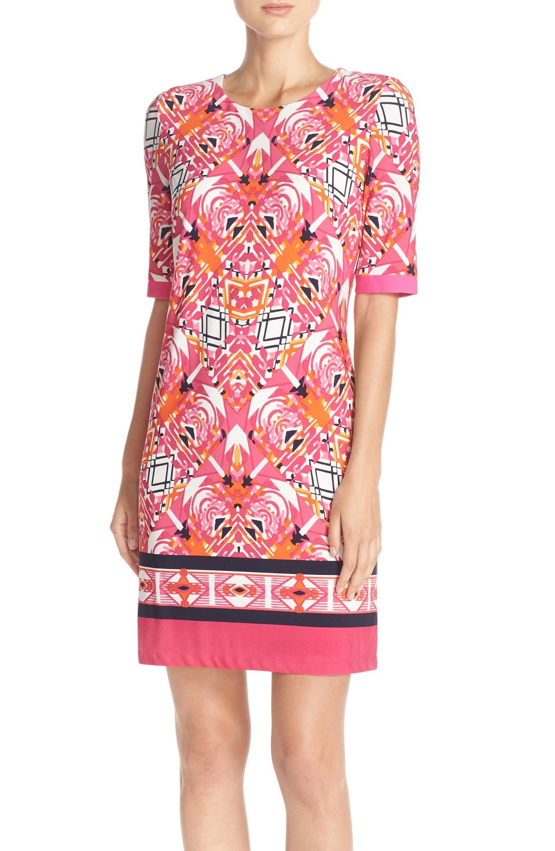 Main Image - Eliza J Print Jersey Shift Dress (Regular & Petite)