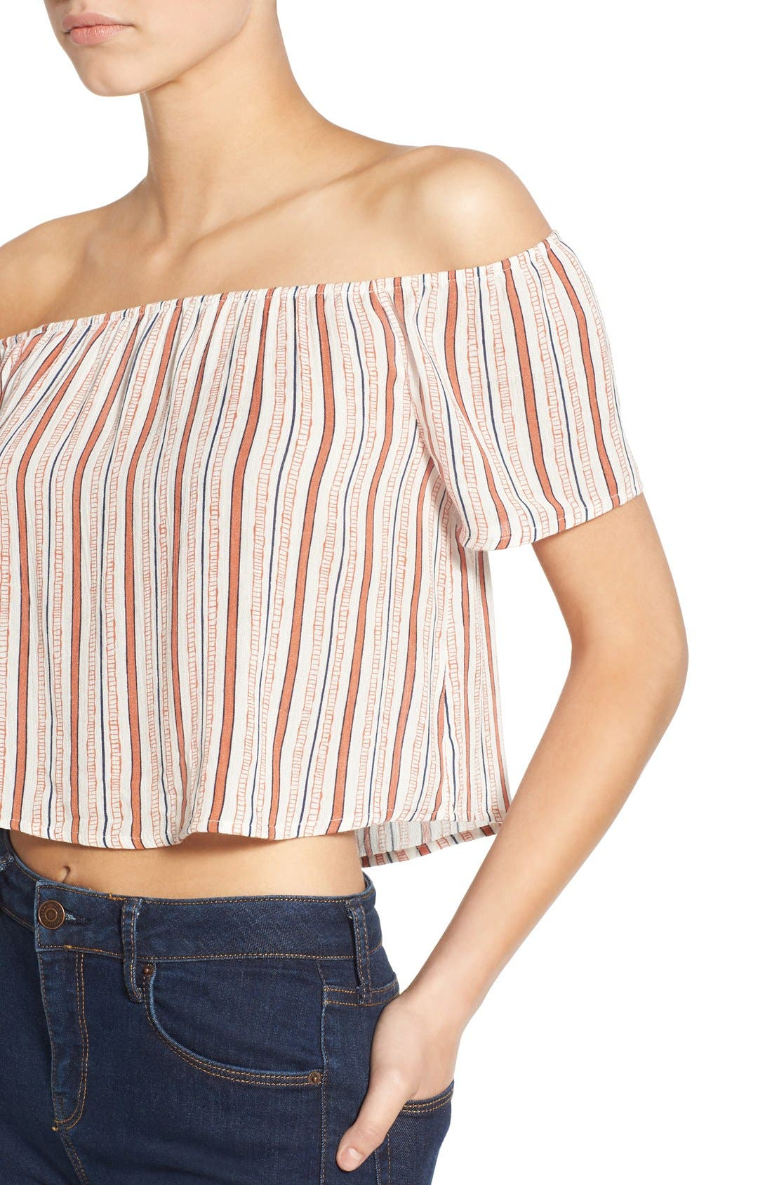 Alternate Image 4  - Ten Sixty Sherman Stripe Off the Shoulder Crop Top