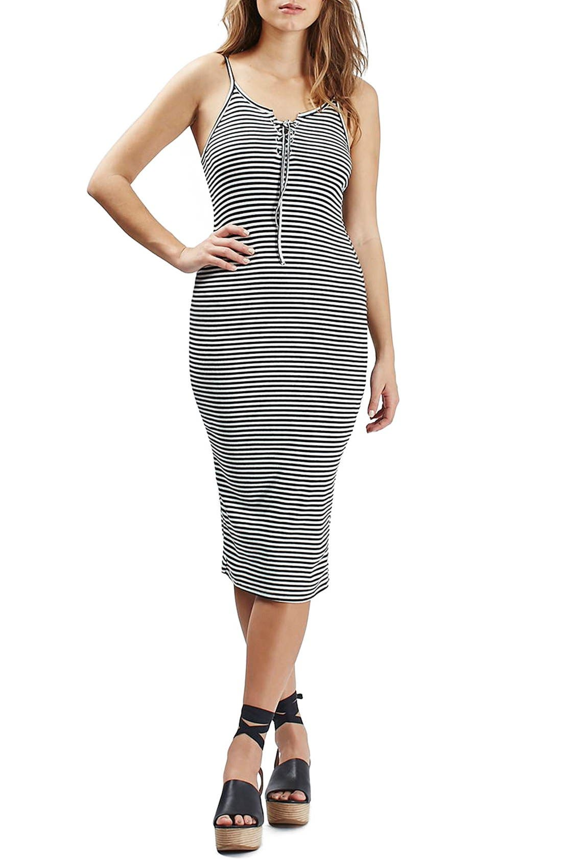 Main Image - Topshop Stripe Lace-Up Midi Dress (Regular & Petite)