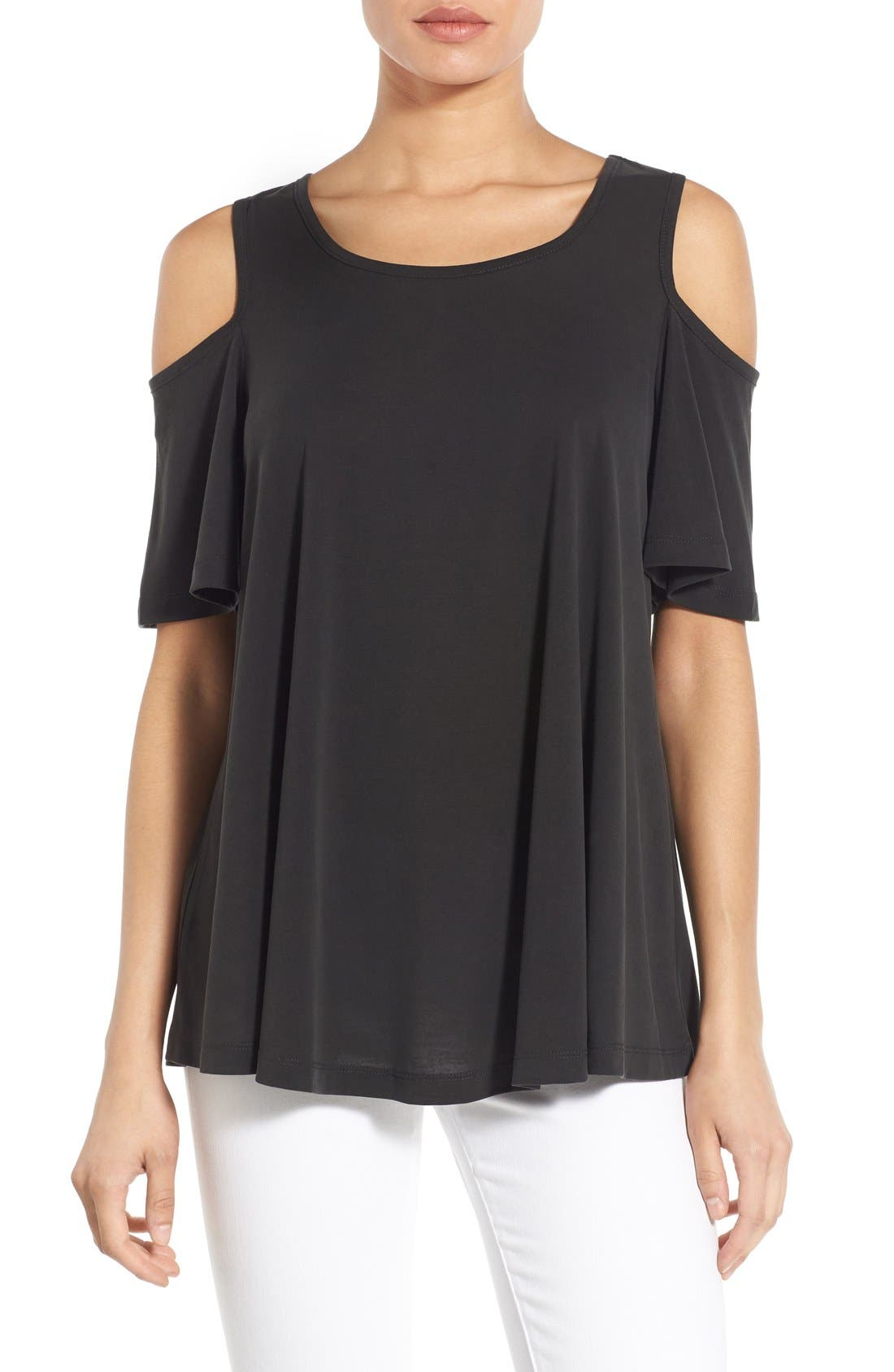 BOBEAU Cold Shoulder Flutter Sleeve Top