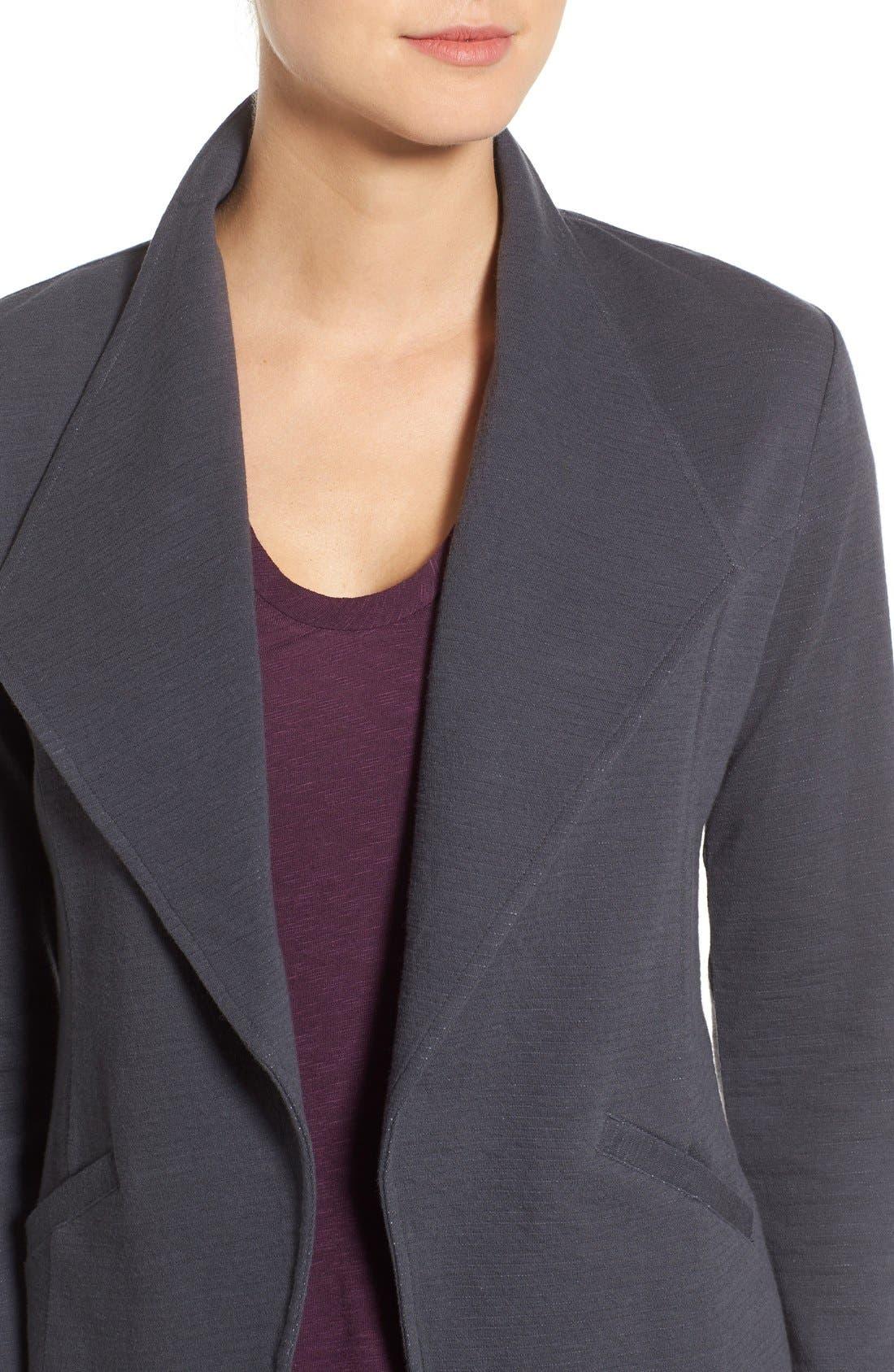 Alternate Image 4  - Caslon® Cotton Knit Open Front Blazer (Regular & Petite)