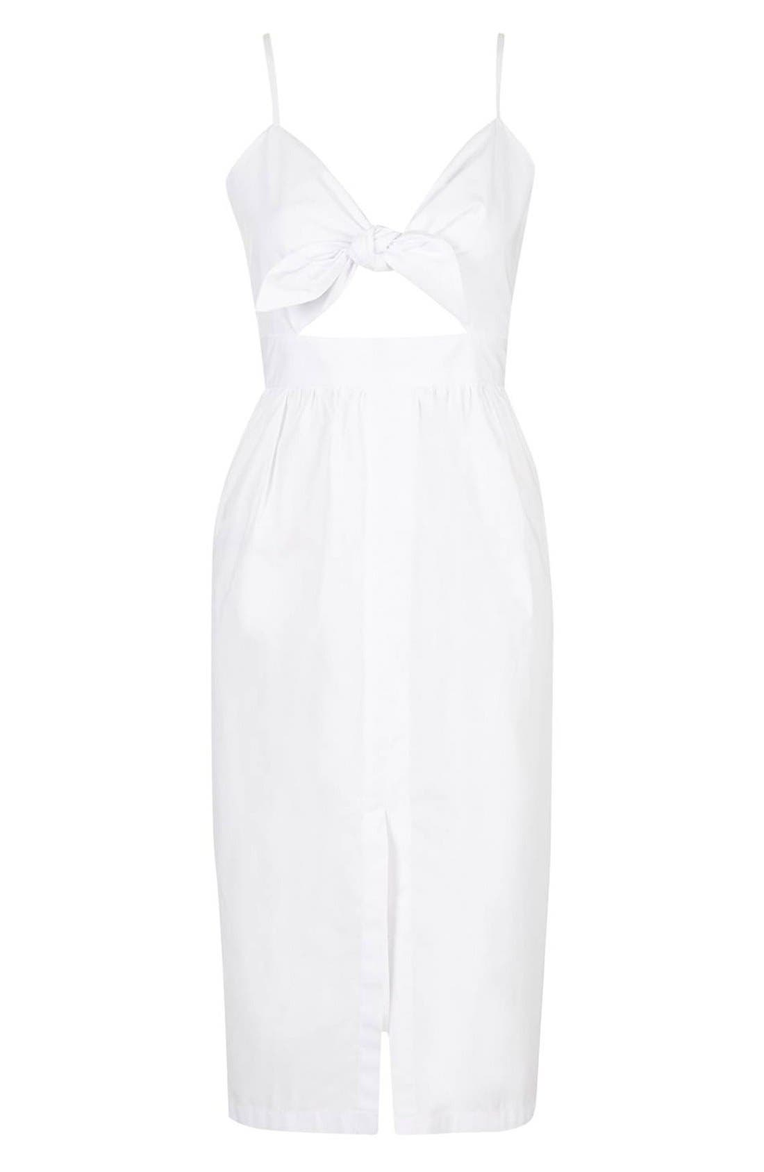 Alternate Image 3  - Topshop Poplin Cutout Bow Midi Dress (Petite)