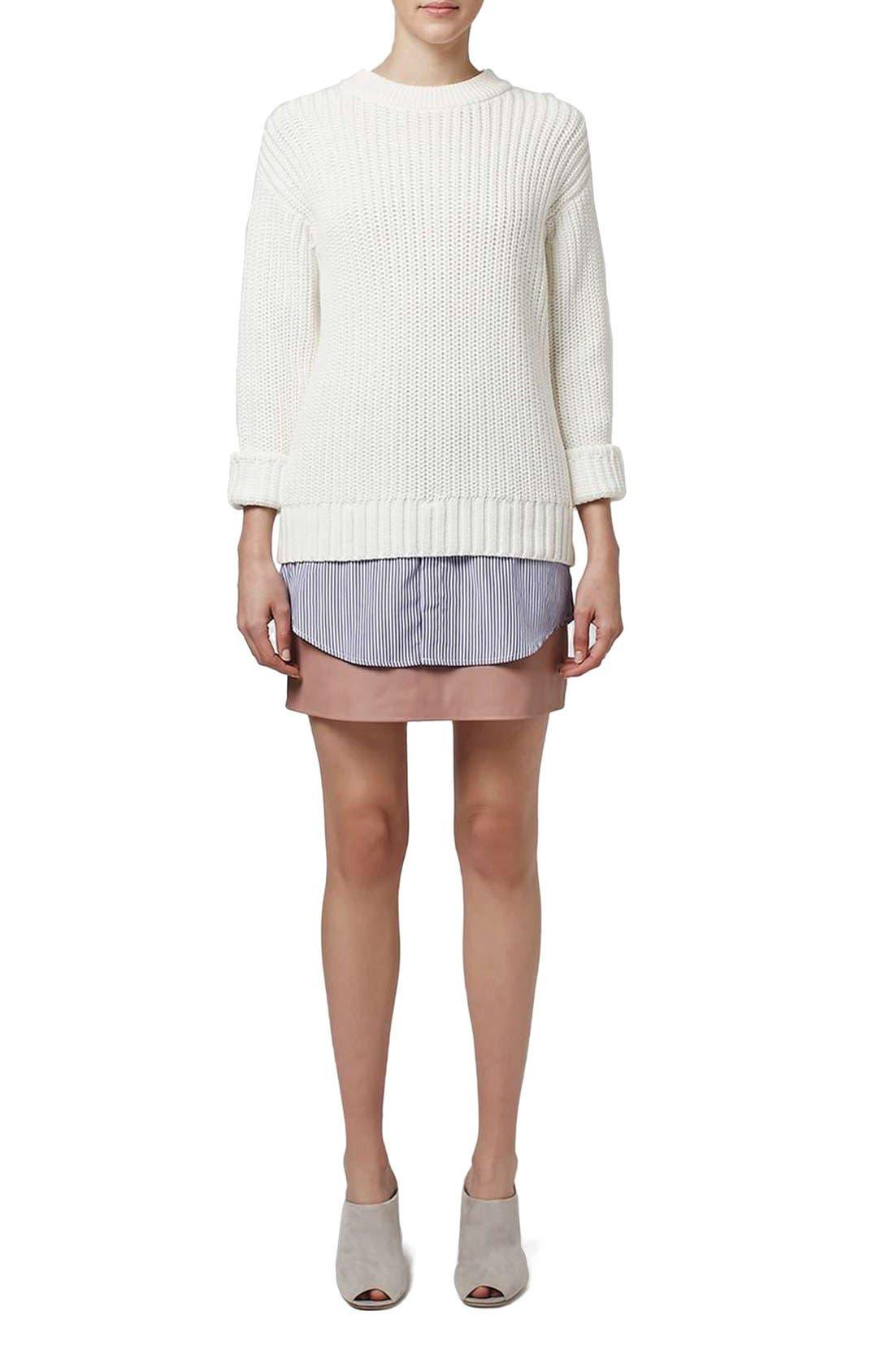 Alternate Image 2  - Topshop Boutique Shirttail Hem Ribbed Sweater