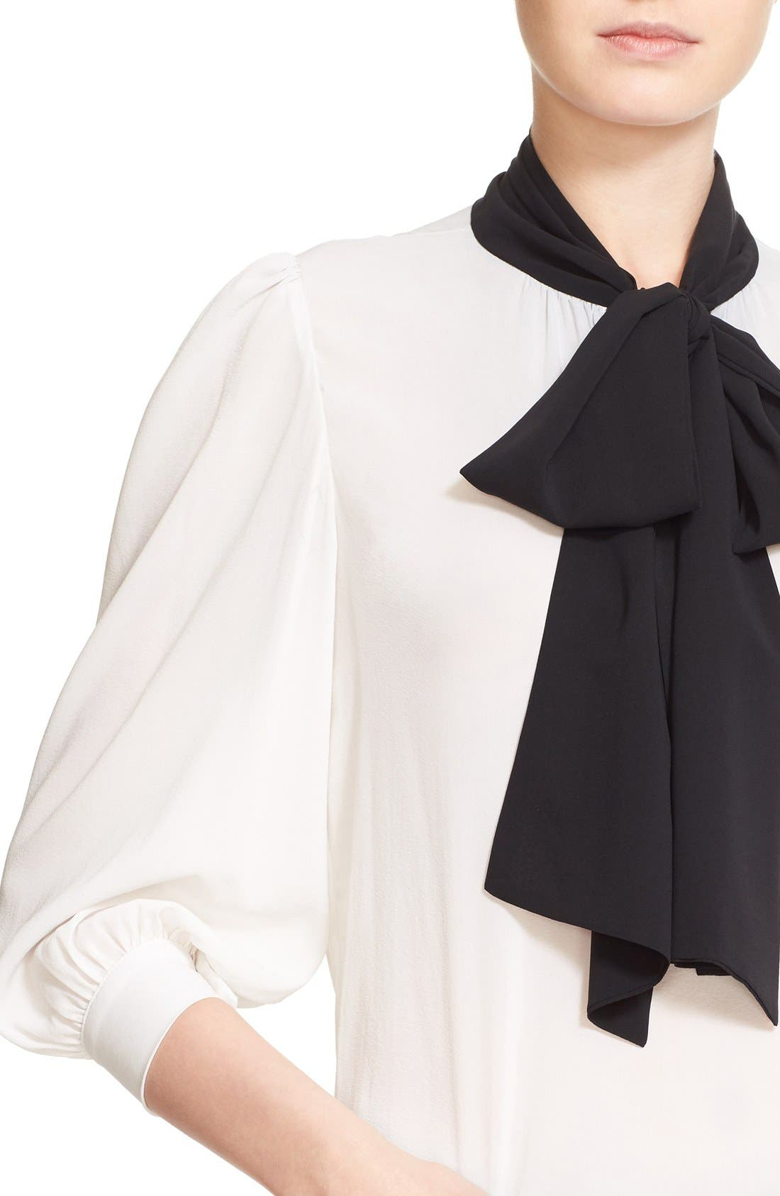 Alternate Image 5  - Alice + Olivia 'Treena' Contrast Bow Stretch Silk Blouse