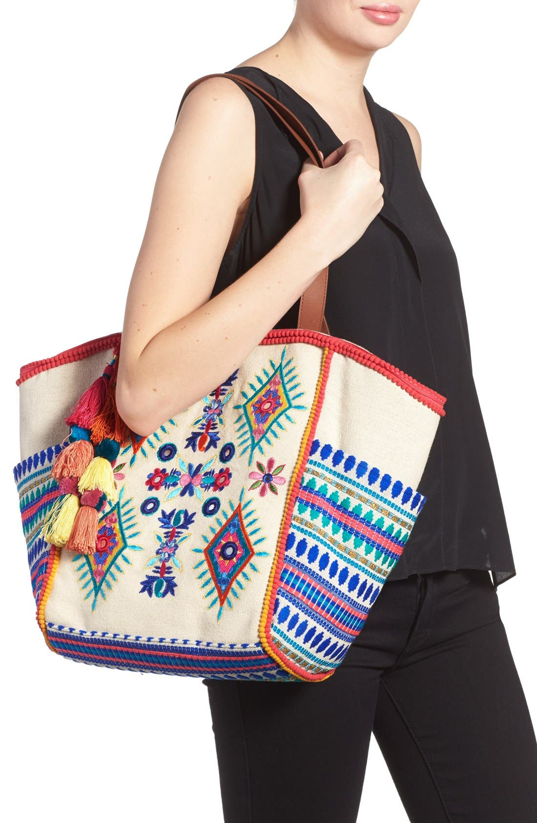 Alternate Image 2  - Steven by Steve Madden Embroidered Pompom Tote