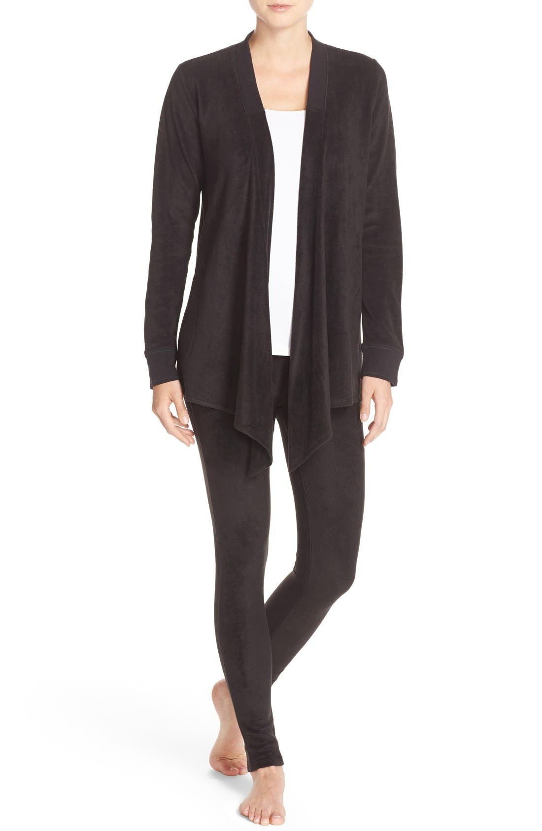 Alternate Image 1 Selected - DKNY Open Cardigan & Lounge Leggings