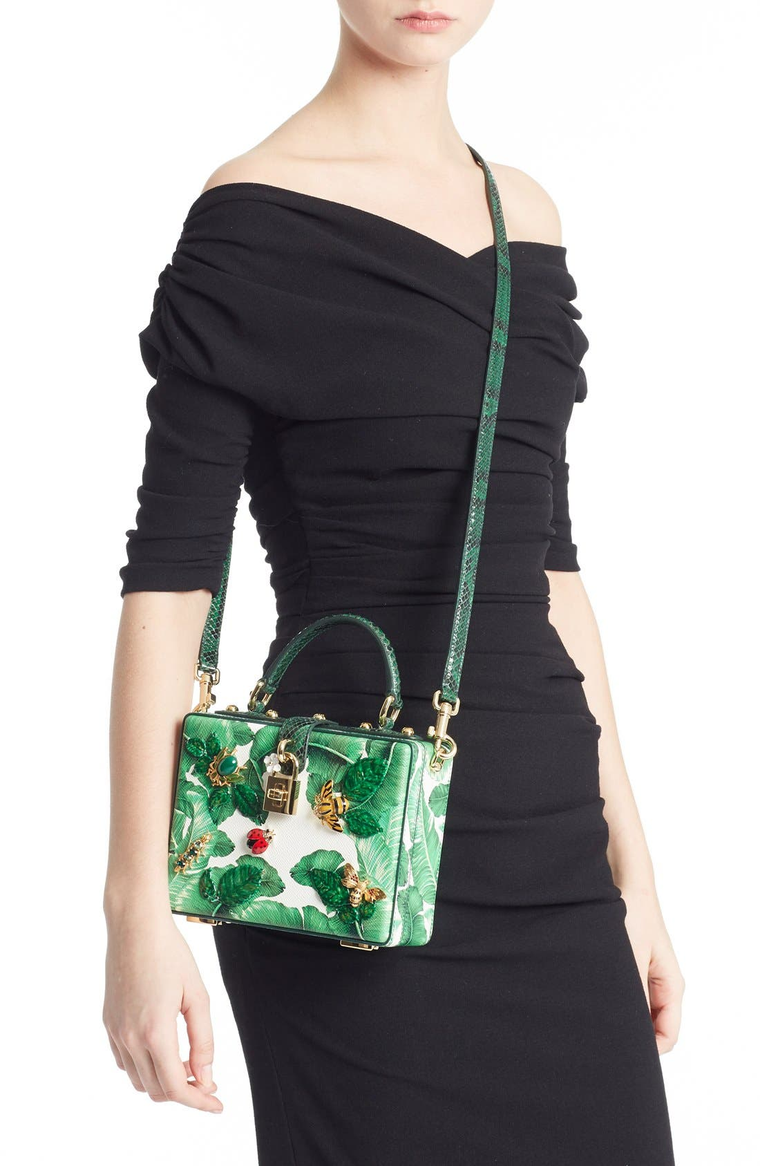 Alternate Image 2  - Dolce&Gabbana 'Banana Leaf' Embellished Leather & Snakeskin Box Bag