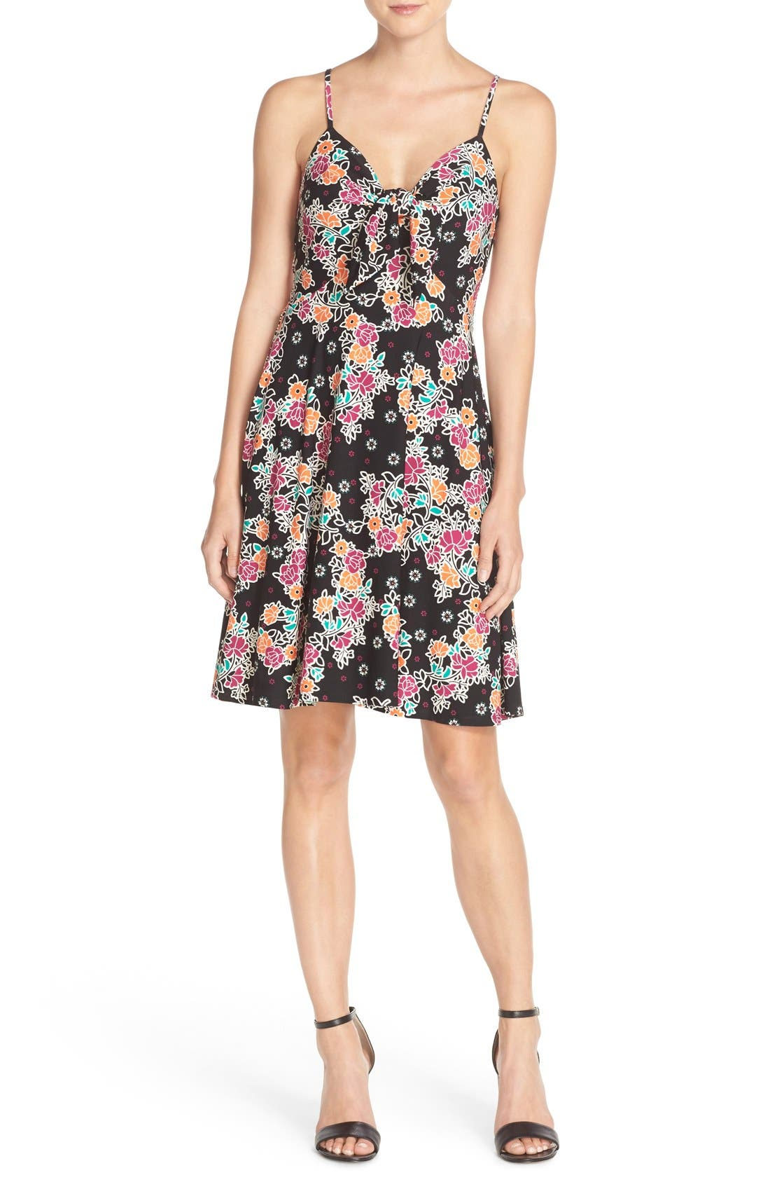 Main Image - ECI Bow Front Print Fit & Flare Dress