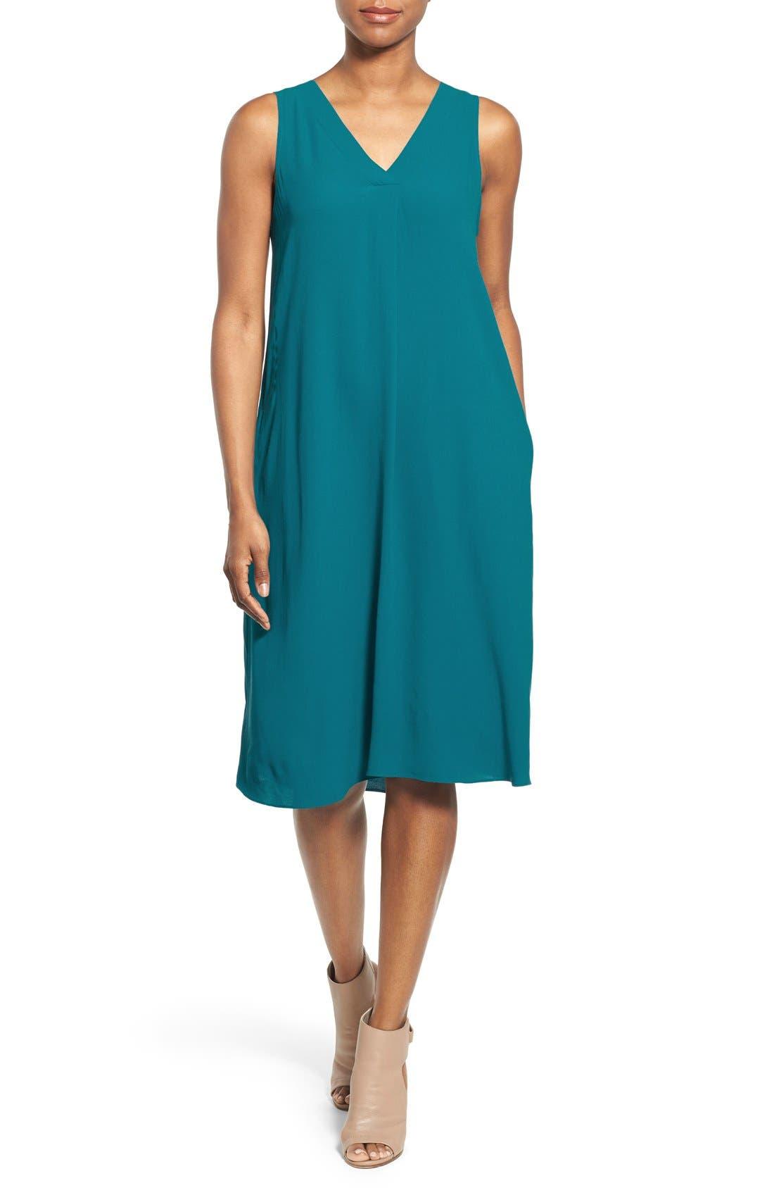 Alternate Image 1 Selected - Eileen Fisher Silk V-Neck Shift Dress (Regular & Petite)