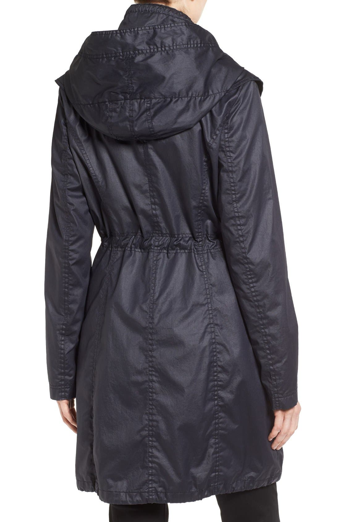 Alternate Image 2  - Laundry by Shelli Segal Double Collar Hooded Waxed Cotton Anorak (Regular & Petite)