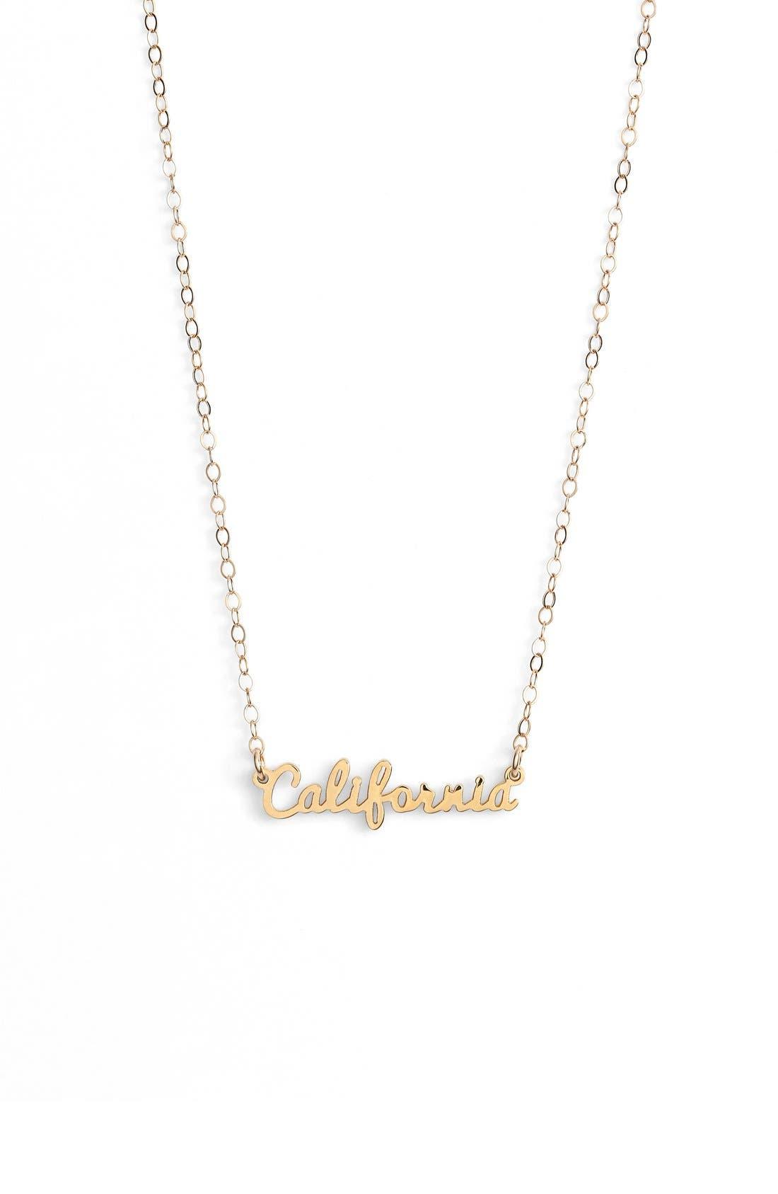 Main Image - Seoul Little 'California' Script Pendant Necklace