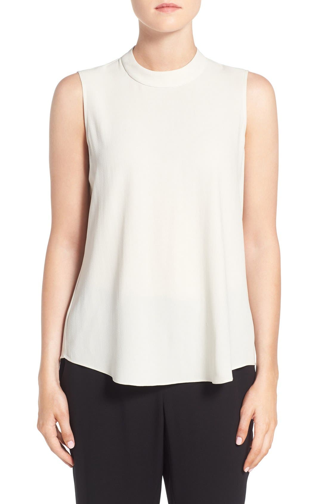 EILEEN FISHER Silk Crepe High Neck Sleeveless Blouse