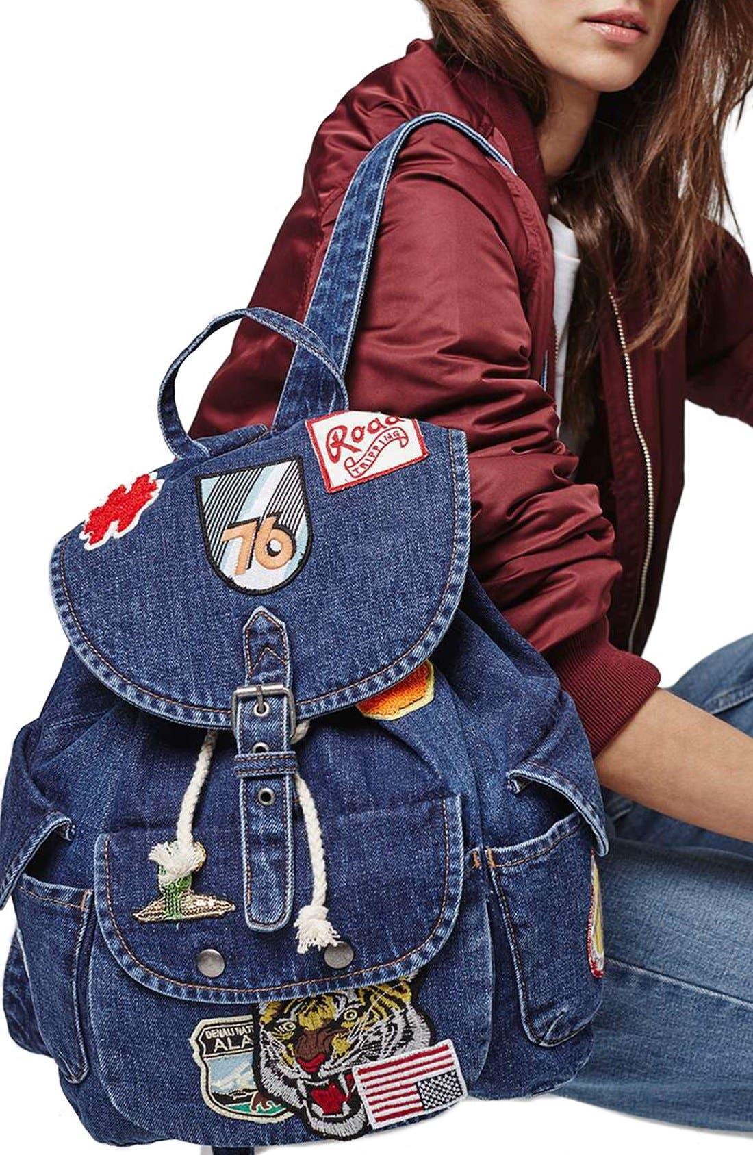 Alternate Image 2  - Topshop Badge Denim Backpack