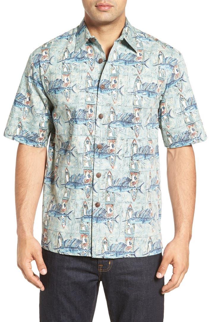 Kahala 39 fish catch 39 short sleeve print sport shirt nordstrom for Fish print shirt