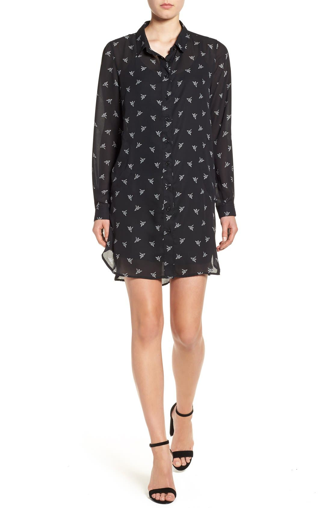 Press Crane Print Long Sleeve Shirtdress