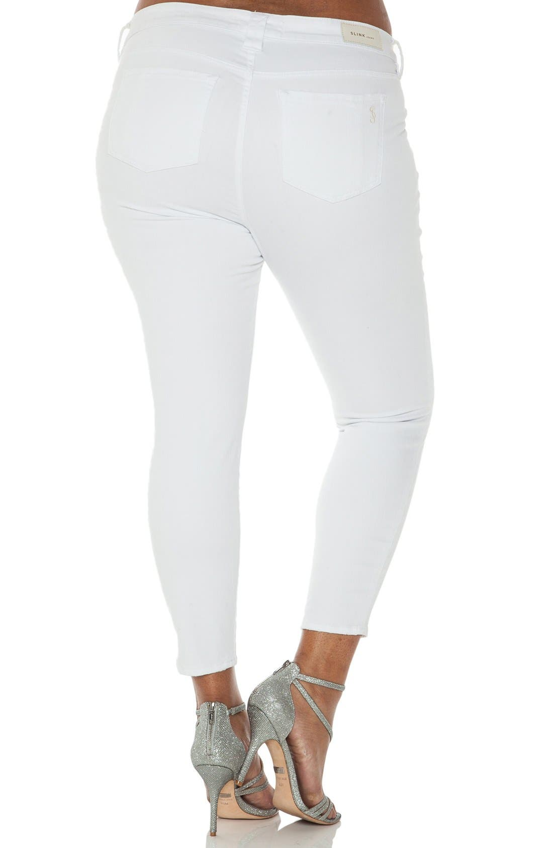 Alternate Image 2  - SLINK Jeans Stretch Ankle Skinny Jeans (Optical White) (Plus Size)