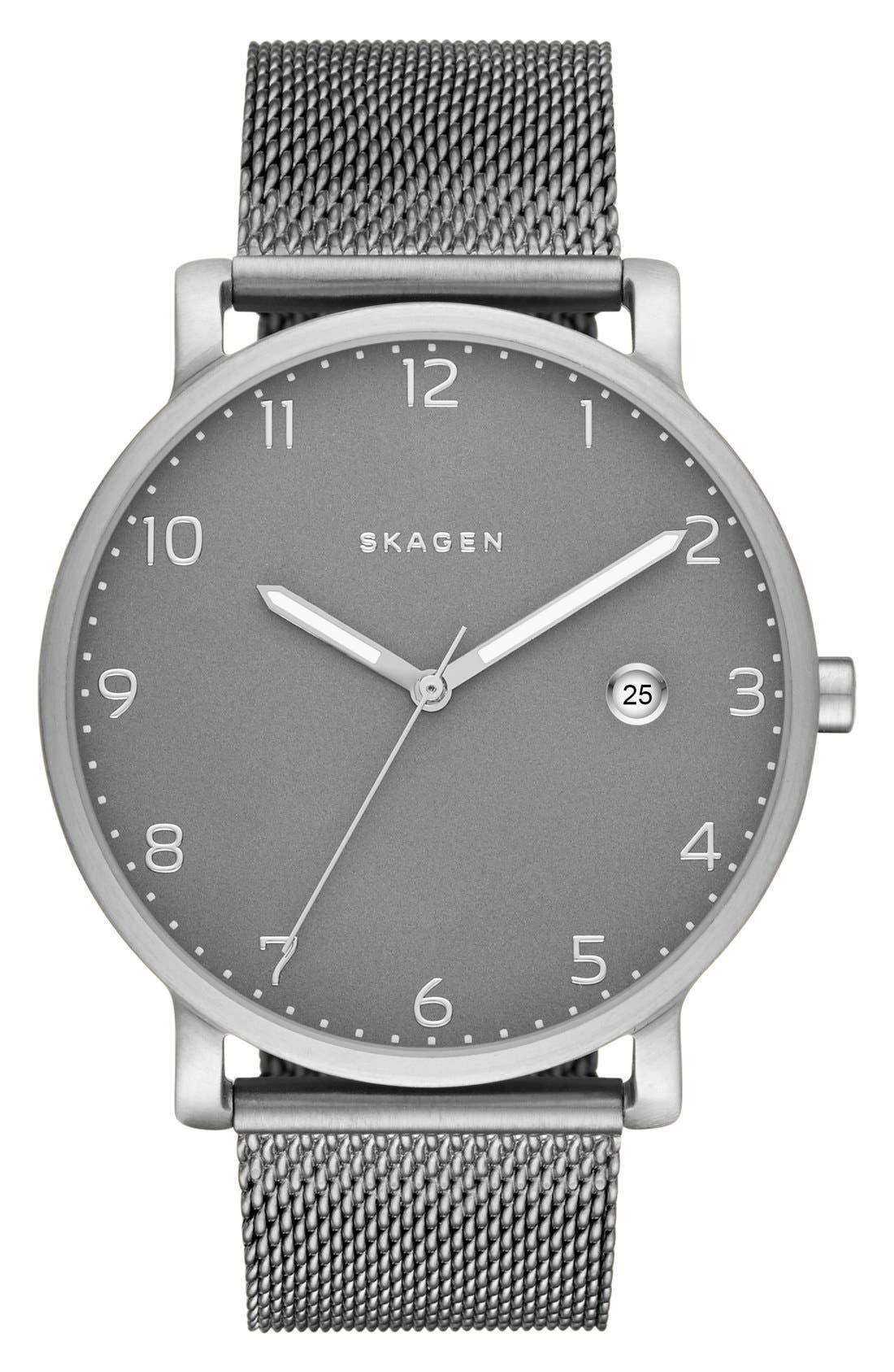 Alternate Image 1 Selected - Skagen 'Hagen' Mesh Strap Watch, 40mm