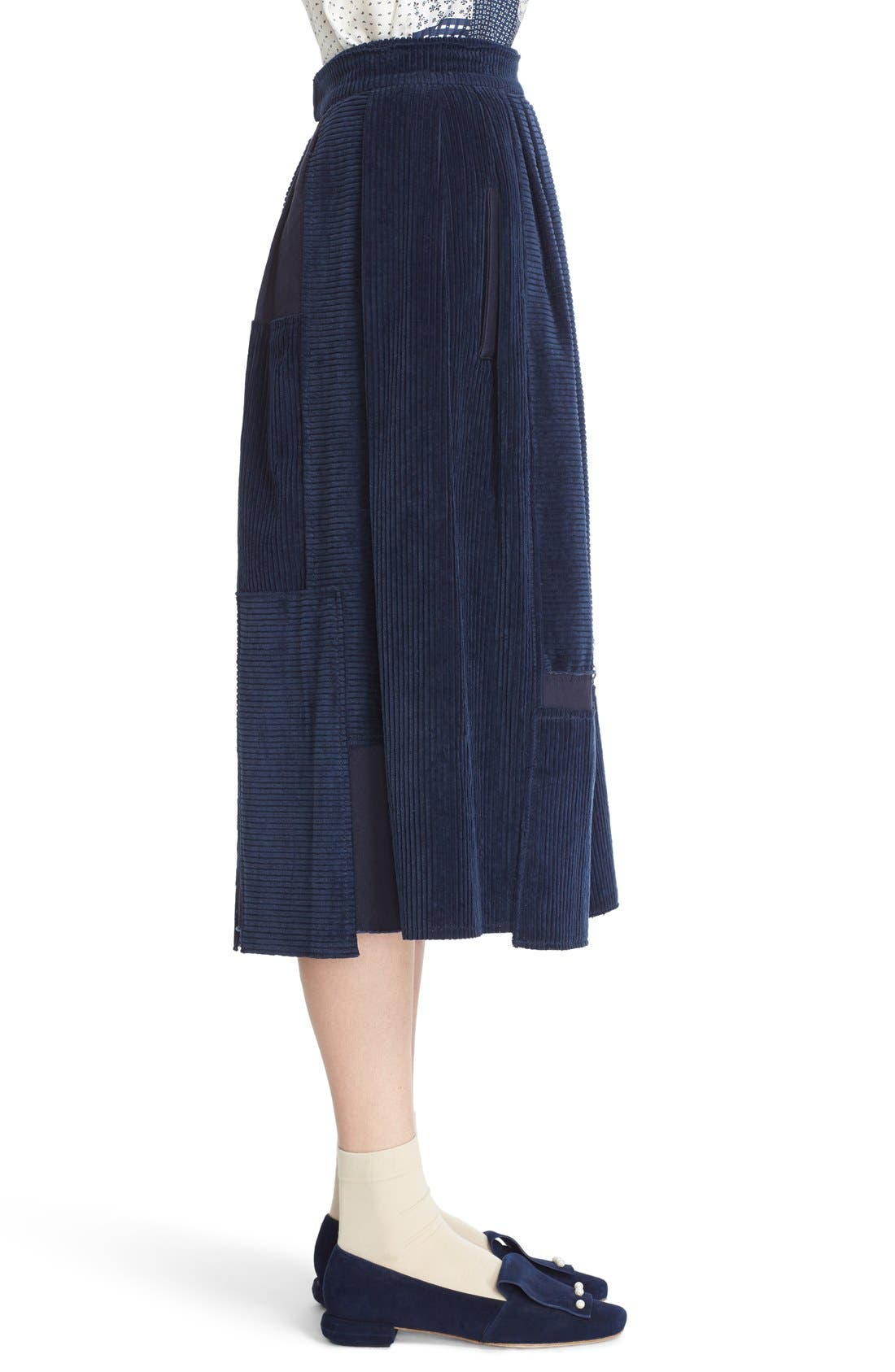 Alternate Image 5  - steventai Corduroy & Denim Patchwork Midi Skirt