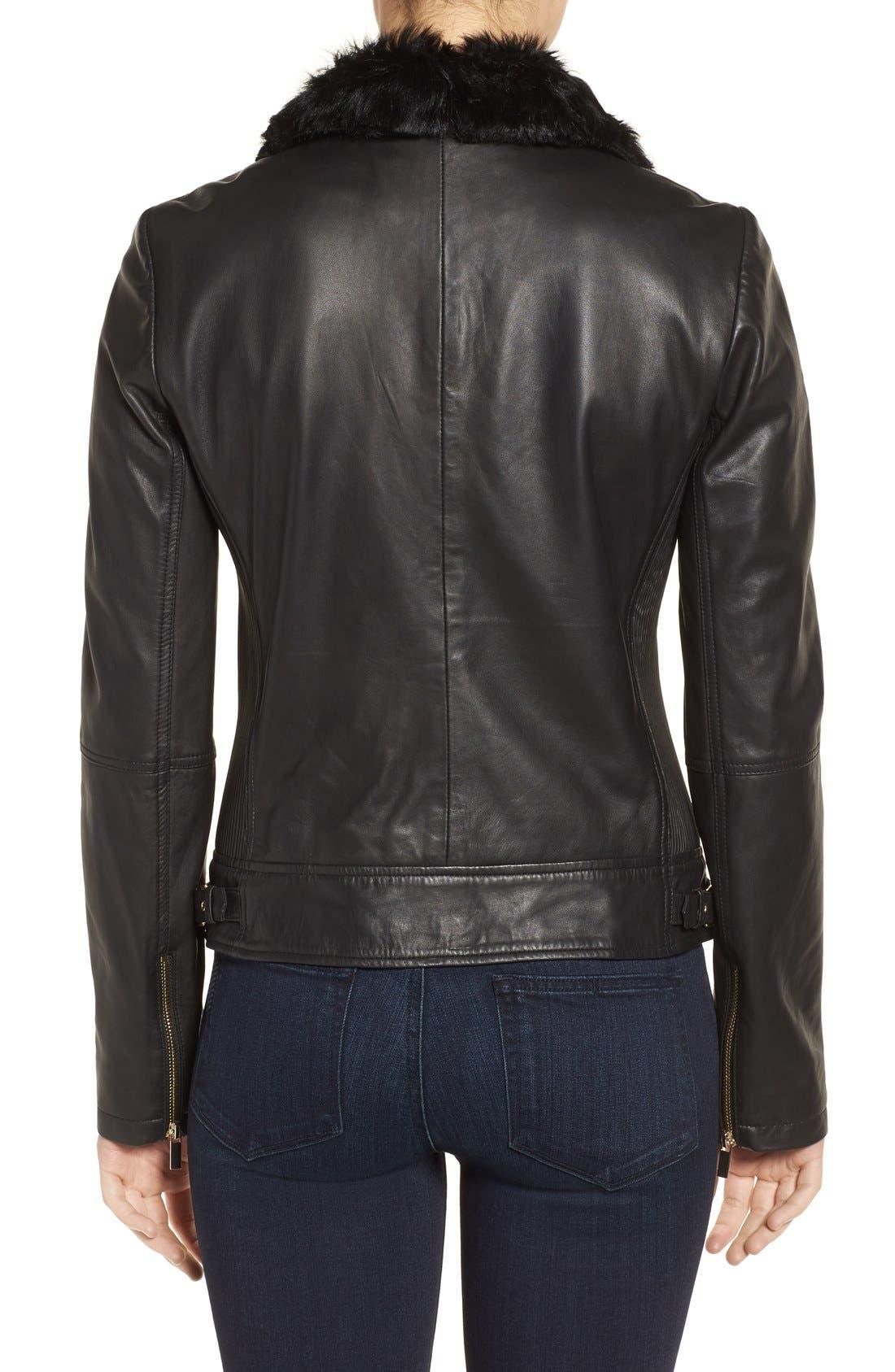 Alternate Image 2  - Badgley Mischka 'Irina' Leather Moto Jacket with Genuine Shearling Collar