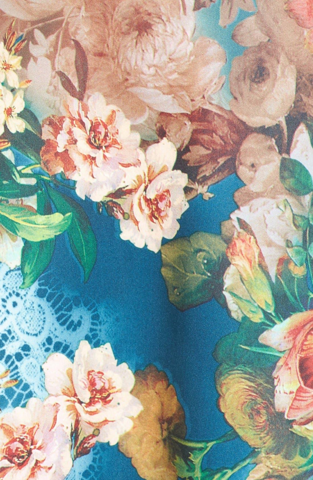 Alternate Image 5  - ECI Floral Scuba Fit & Flare Midi Dress