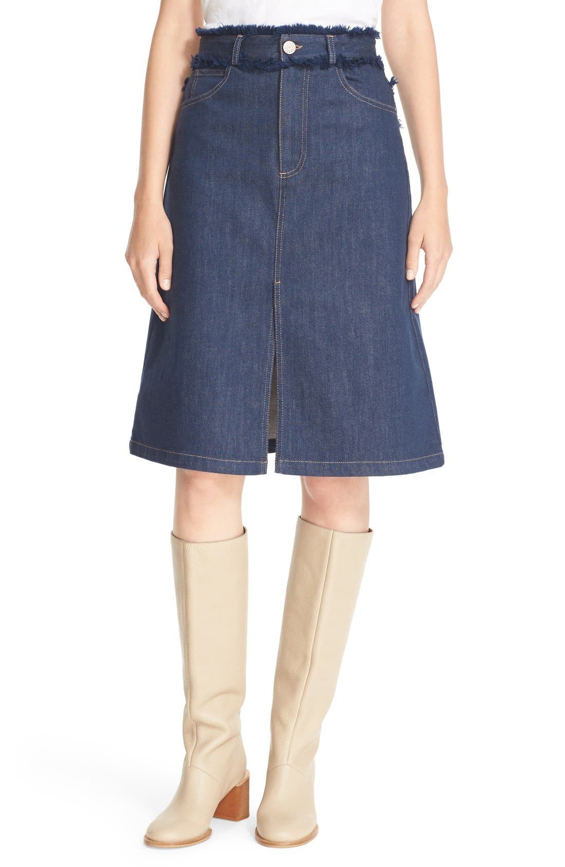 see by chlo 233 frayed denim skirt nordstrom