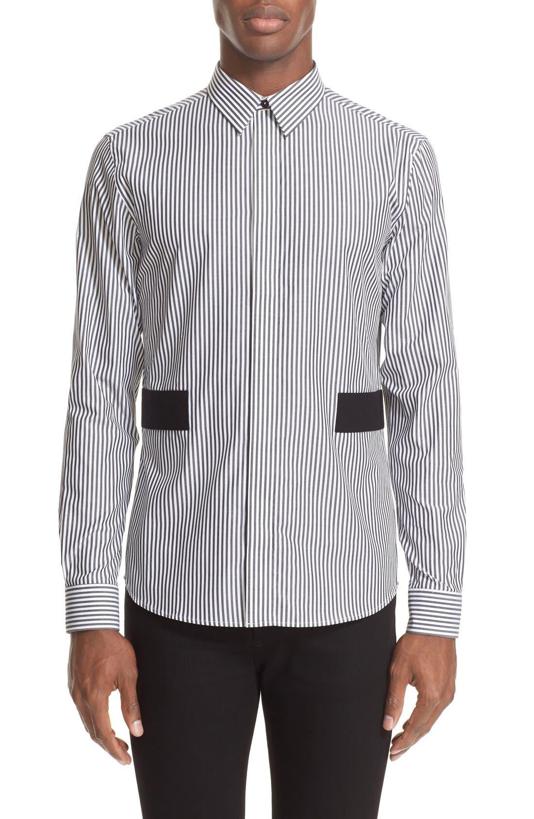 GIVENCHY Band Appliqué Stripe Woven Shirt