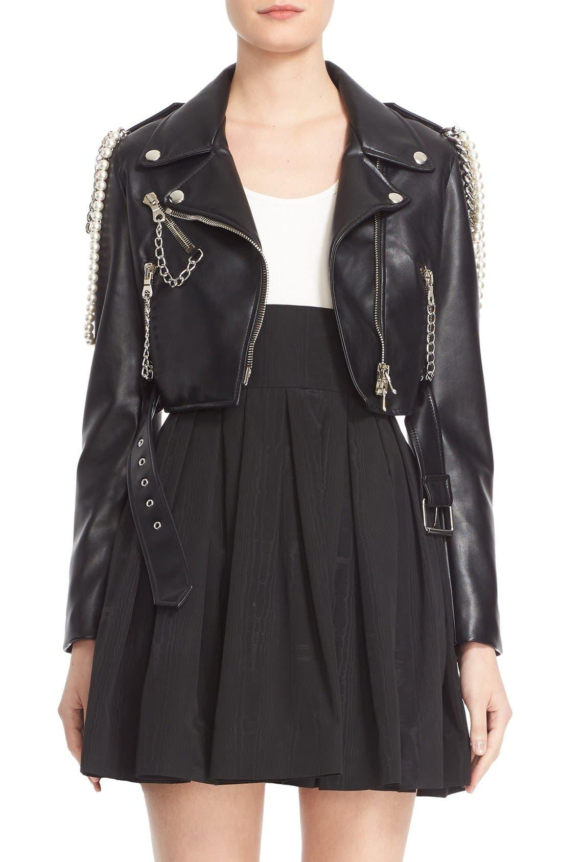 Alternate Image 1  - Moschino Chain & Imitation Pearl Embellished Faux Leather Jacket