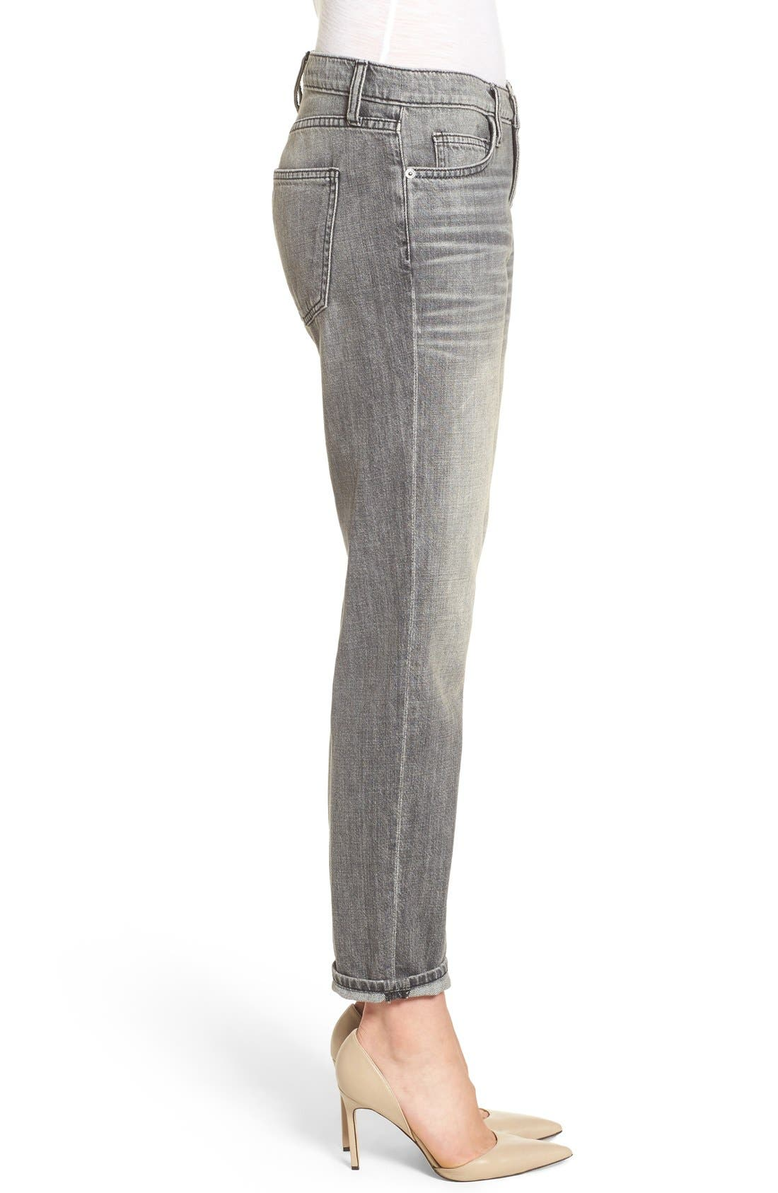 Alternate Image 4  - Current/Elliott 'The Fling' Boyfriend Jeans (Metal Washed Black)