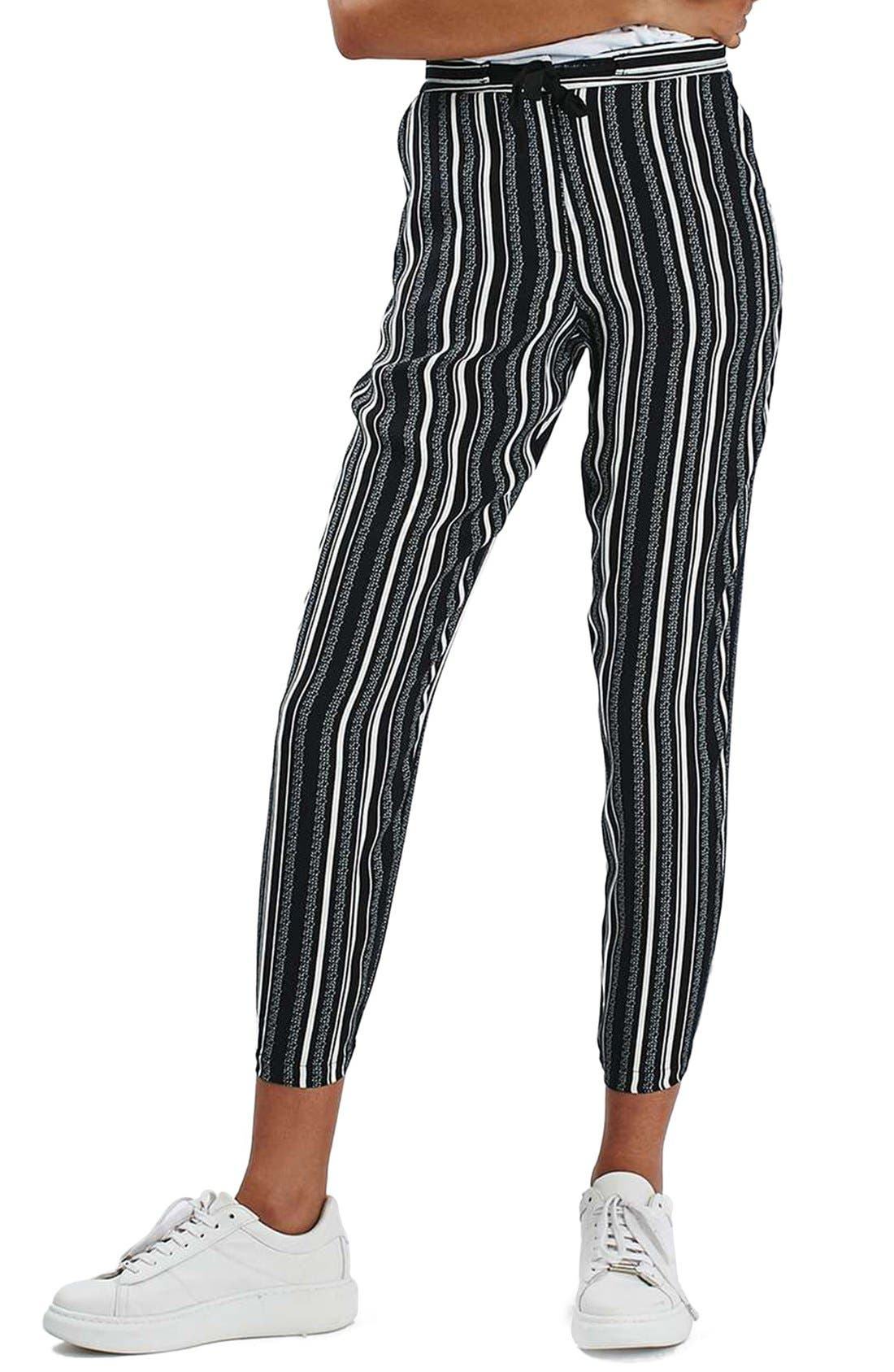 Main Image - Topshop Stripe Tapered Slouch Pants