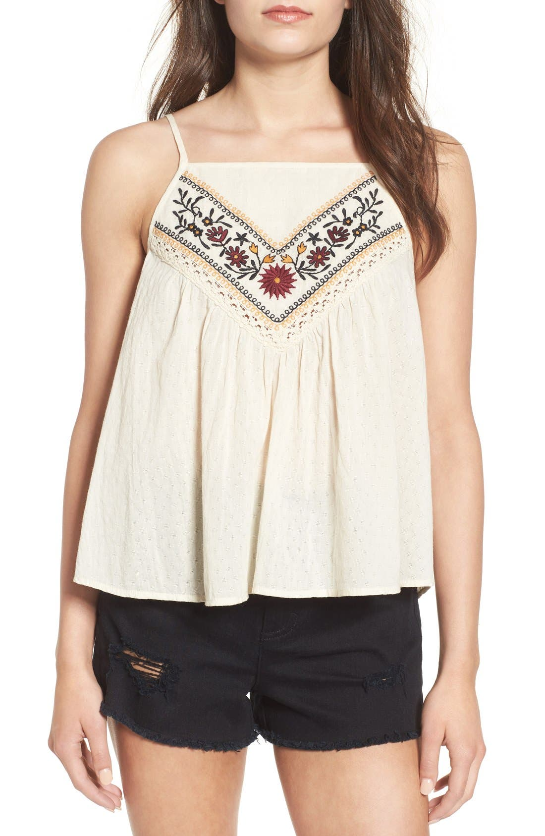 Main Image - Band of Gypsies Embroidered Woven Tank