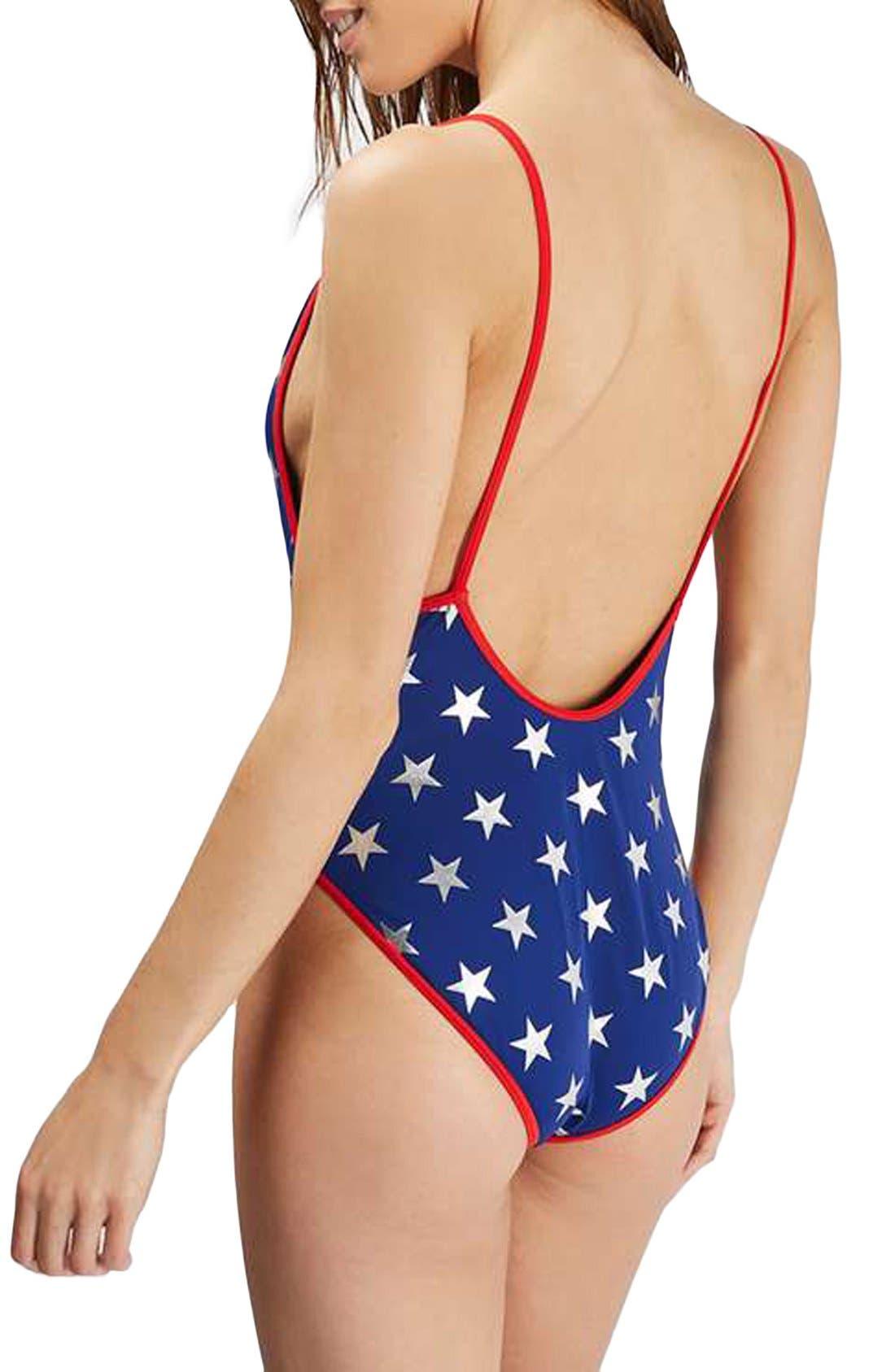 Alternate Image 2  - Topshop Star Print One-Piece Swimsuit