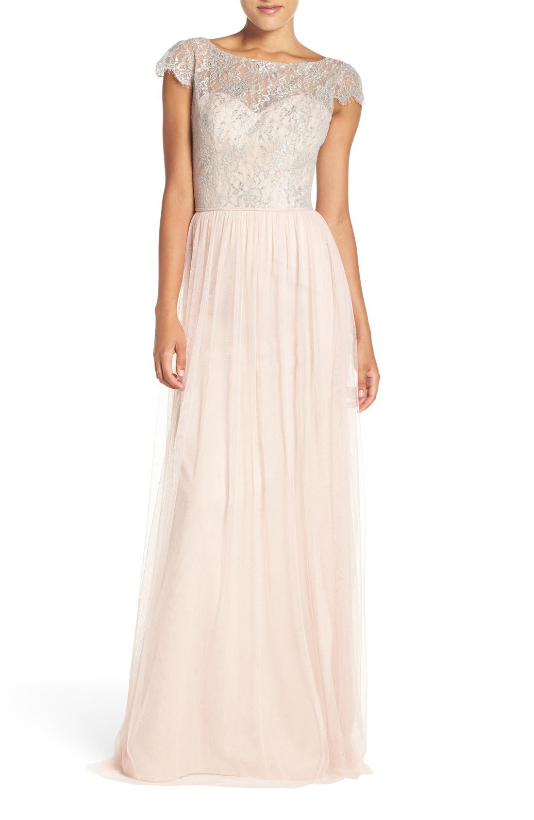 Hayley Paige Occasions Cap Sleeve Metallic Lace & Tulle Gown