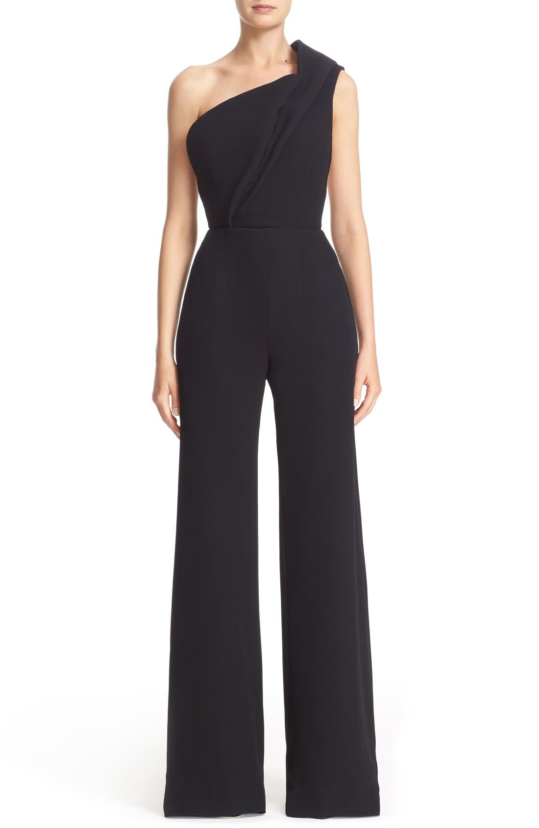 BRANDON MAXWELL One-Shoulder Wide Leg Jumpsuit