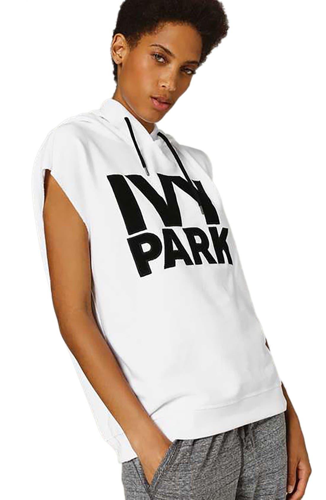 Main Image - IVY PARK® Raw Hem Peached Logo Sleeveless Hoodie