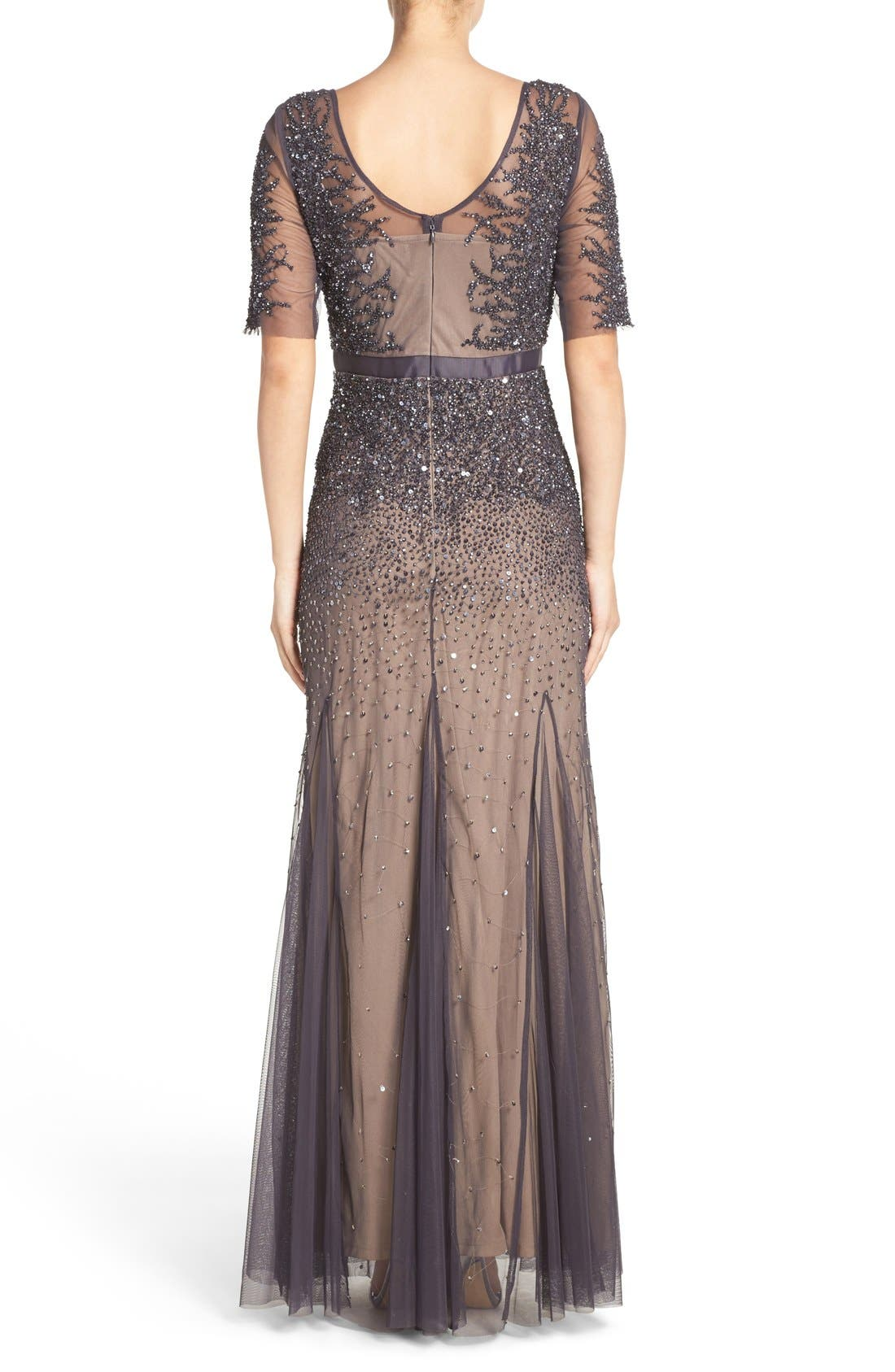Alternate Image 2  - Adrianna Papell Embellished Mesh Mermaid Gown