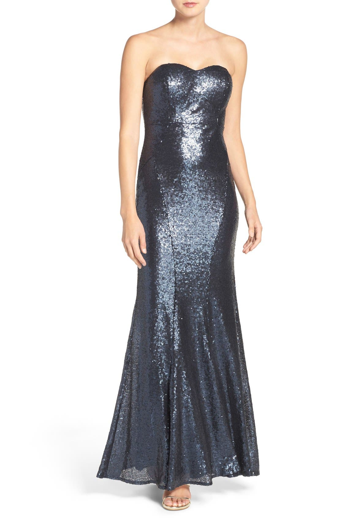 LULUS Strapless Sequin Mermaid Gown