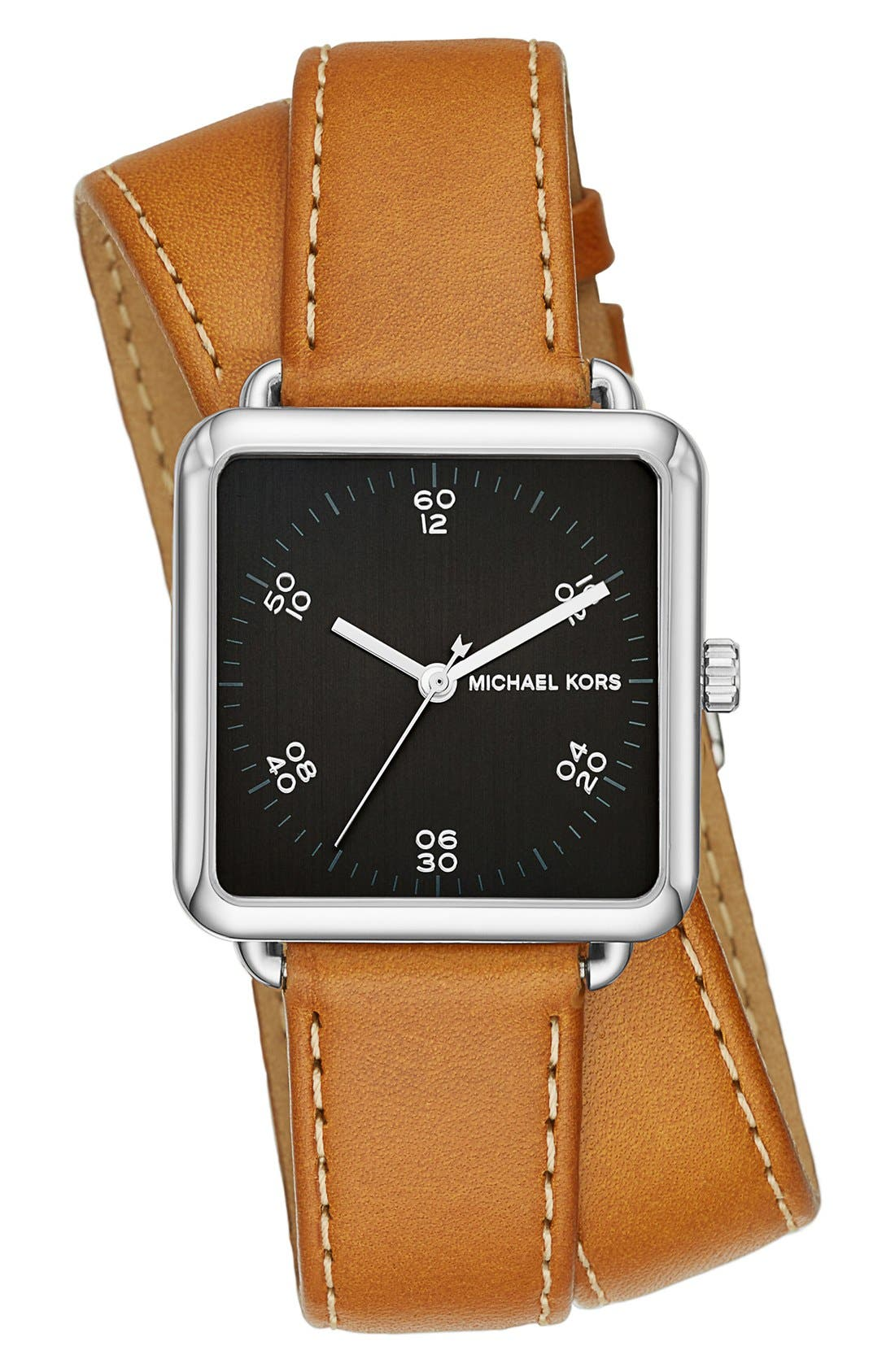 Alternate Image 1 Selected - MICHAEL Michael Kors 'Brenner' Square Leather Strap Watch, 31mm