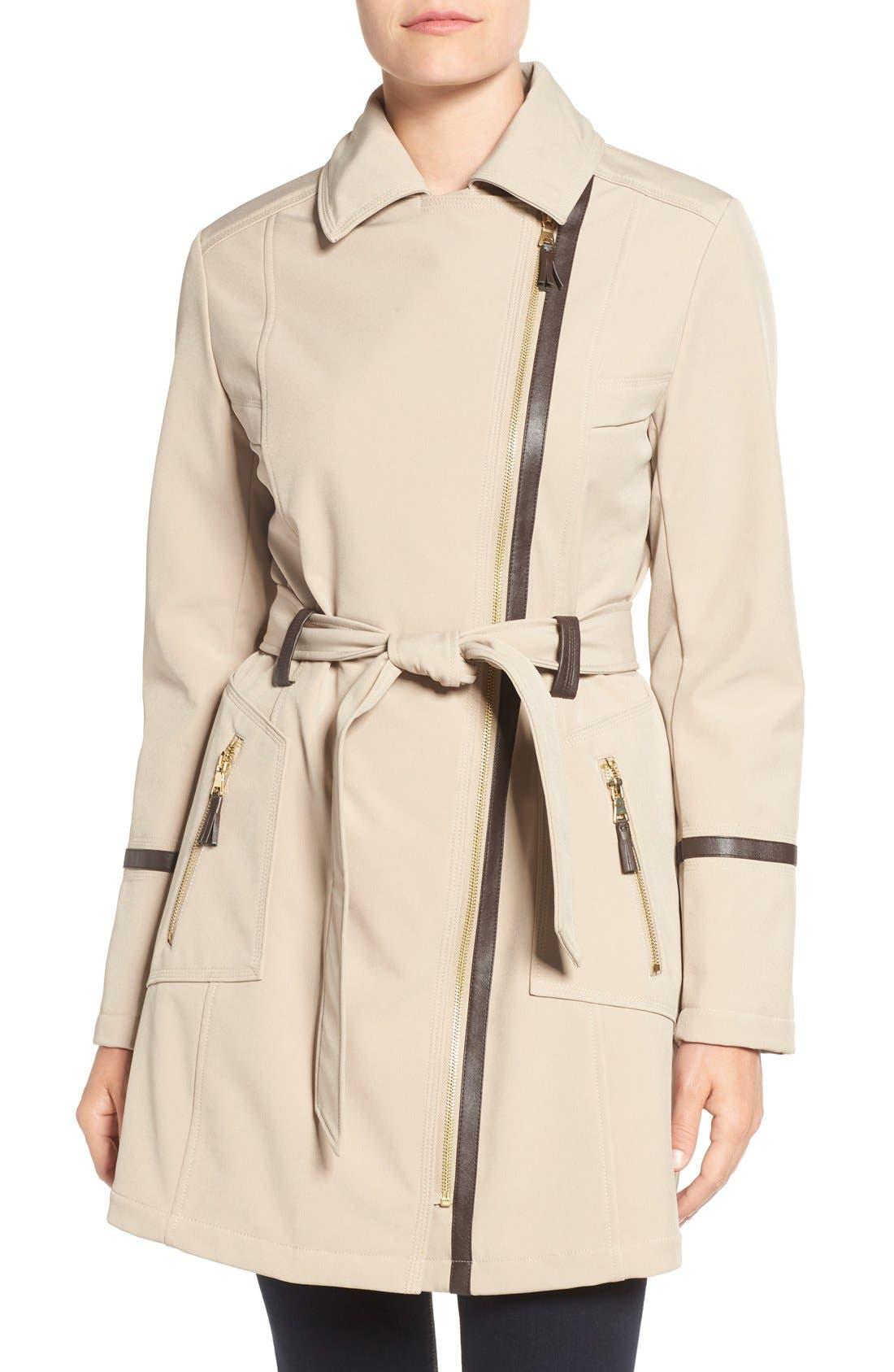 Alternate Image 4  - Via Spiga Detachable Faux Fur Collar Belted Soft Shell Coat