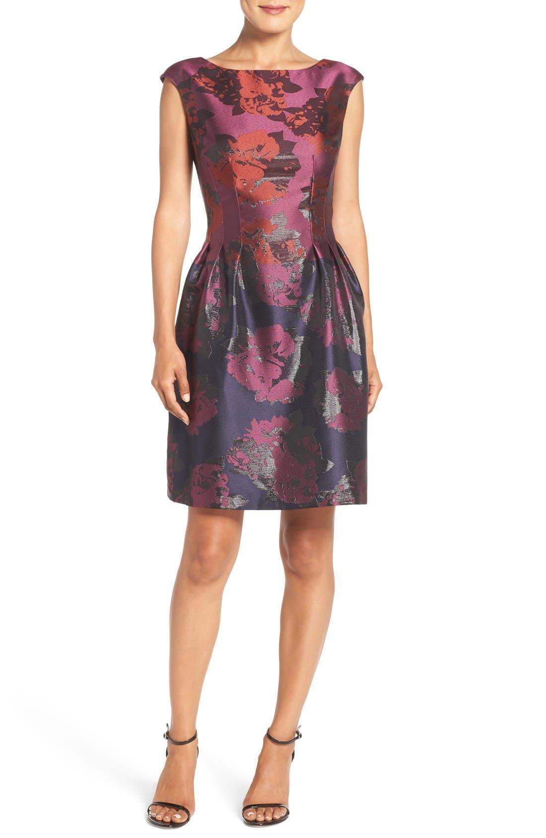 Alternate Image 1 Selected - Vince Camuto Jacquard Fit & Flare Dress (Regular & Petite)