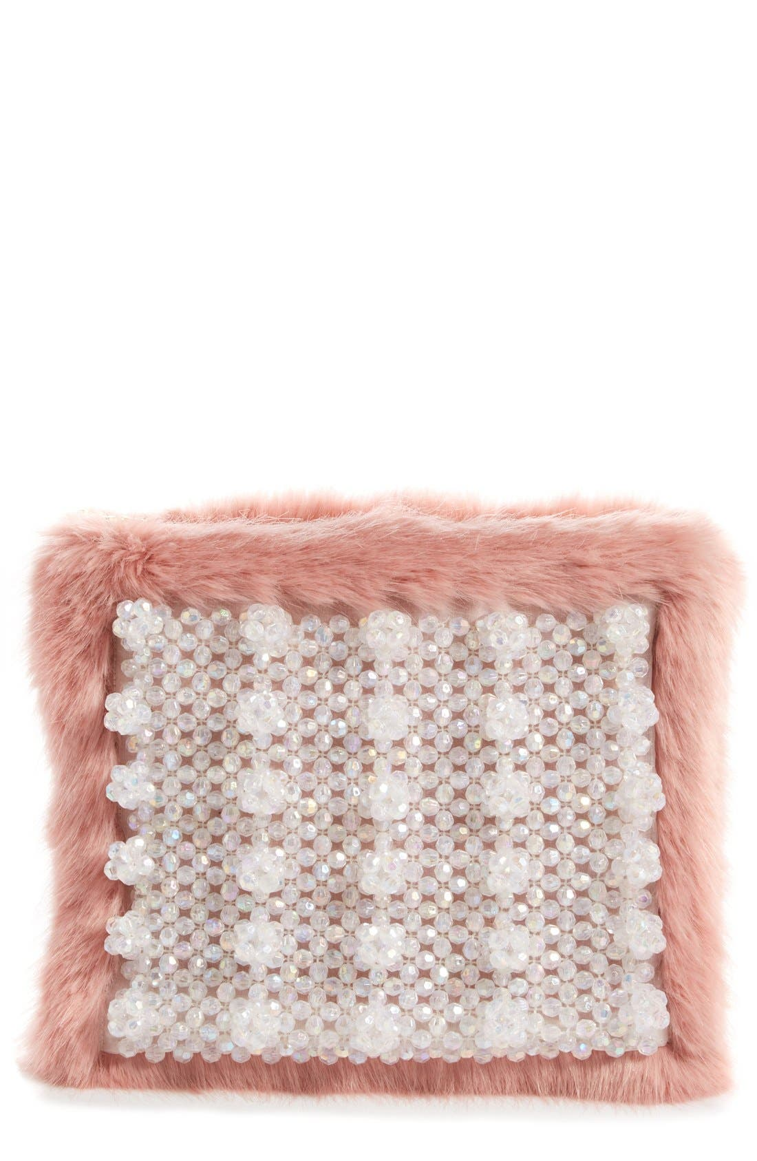 Main Image - Shrimps Beaded Faux Fur Clutch