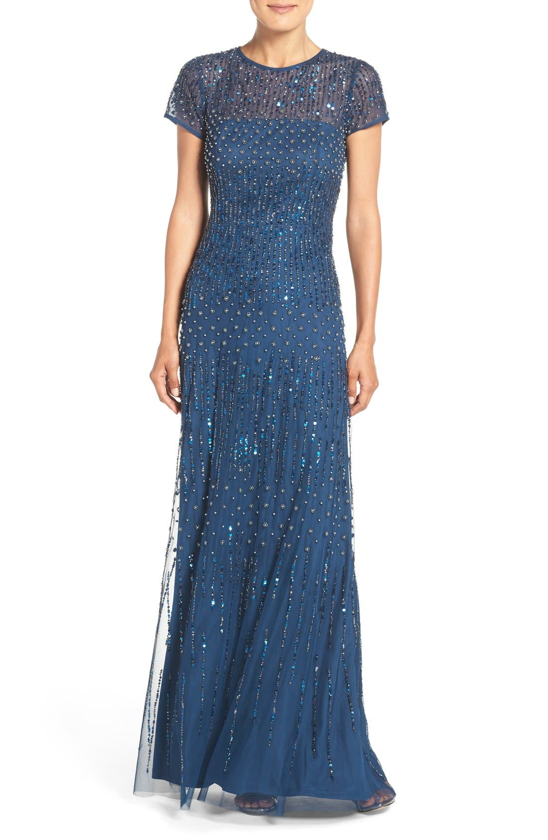Alternate Image 1 Selected - Adrianna Papell Embellished Mesh Gown (Regular & Petite)