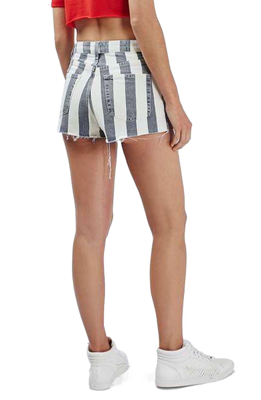 Alternate Image 3  - Topshop Stripe Distressed Denim Shorts