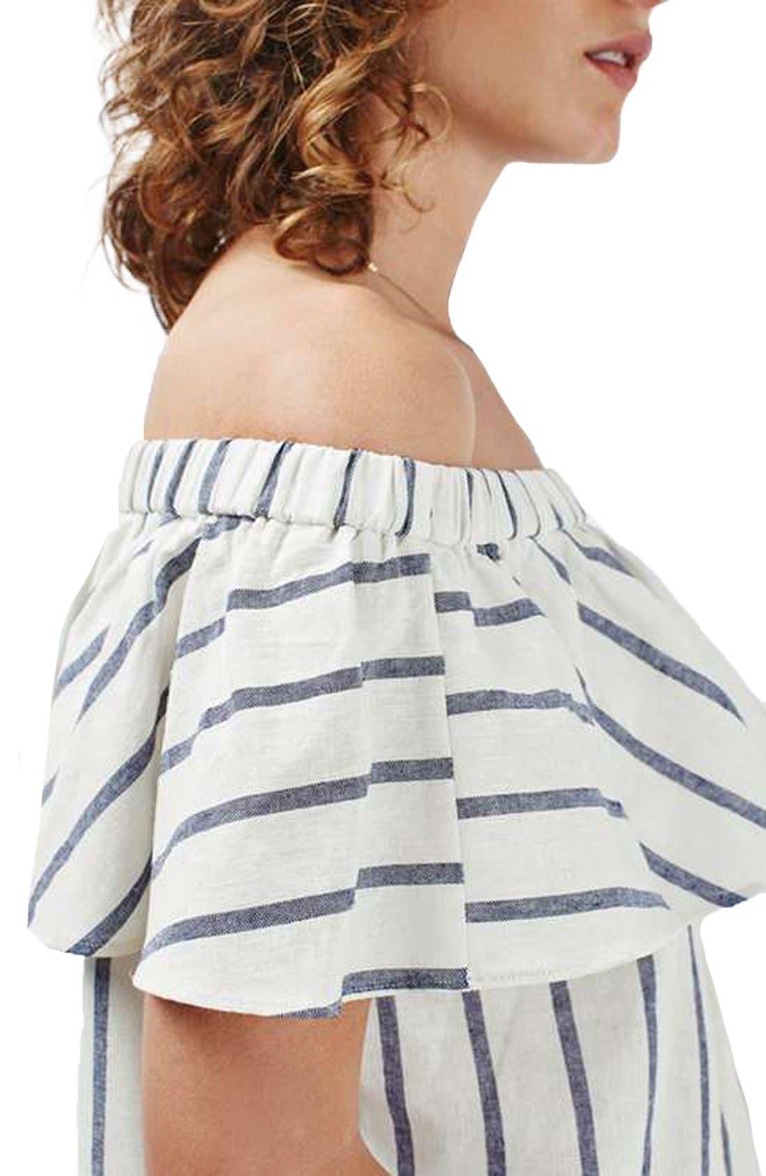 Alternate Image 6  - Topshop Stripe Off the Shoulder Crop Top