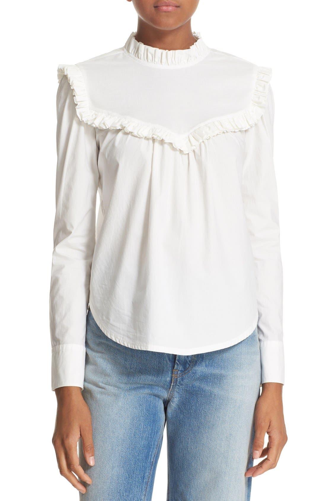 Alternate Image 1 Selected - La Vie Rebecca Taylor Ruffle Cotton Poplin Blouse