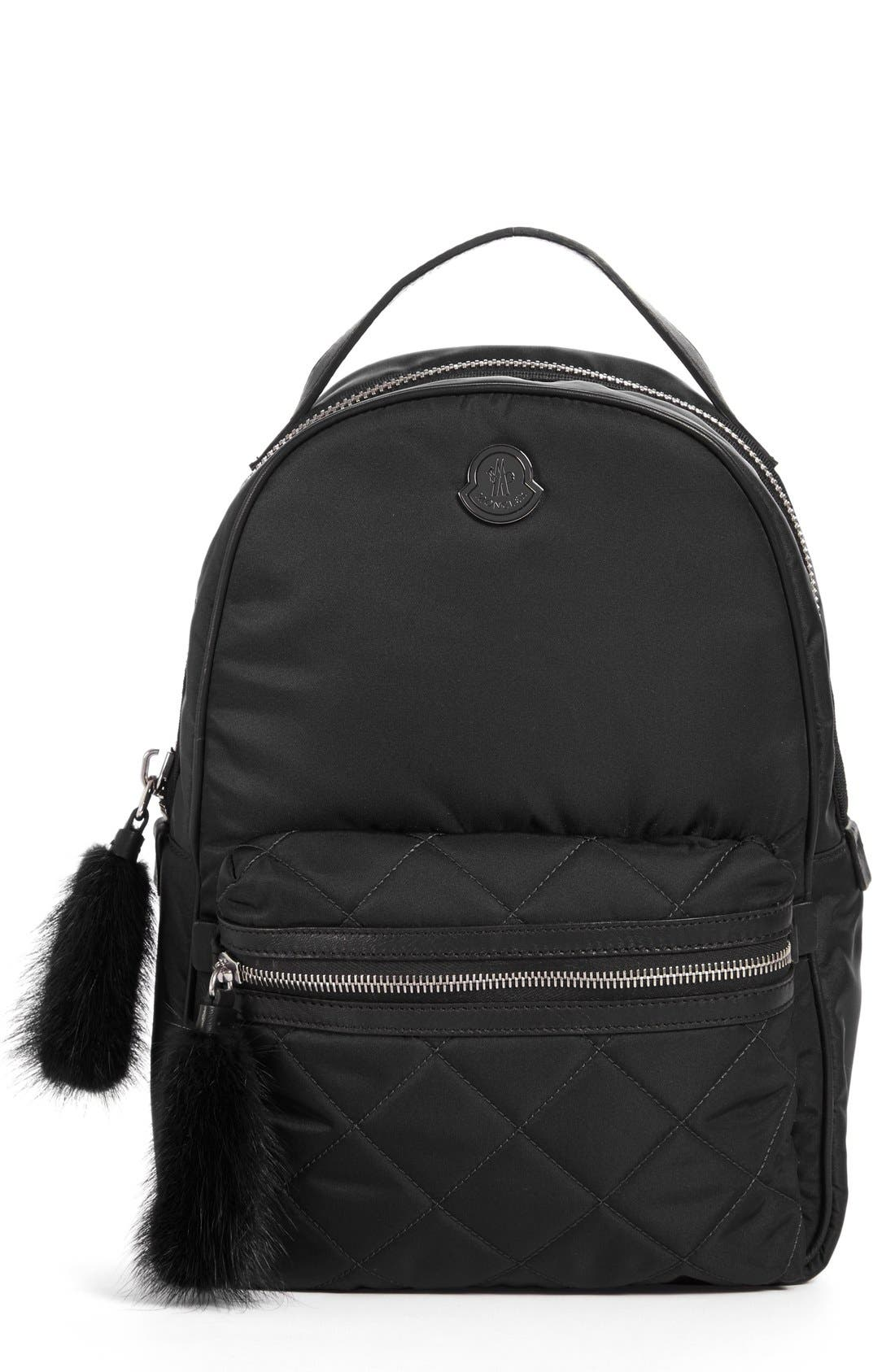 MONCLER 'Georgette' Genuine Rabbit Trim Backpack
