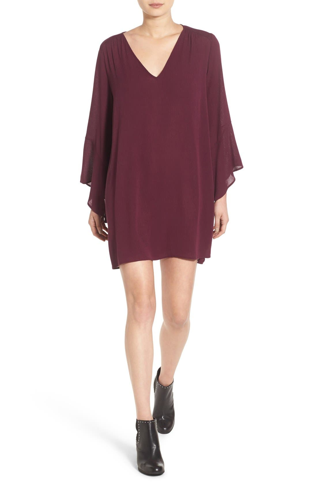 Alternate Image 1 Selected - Lush 'Whitney' Bell Sleeve Woven Shift Dress