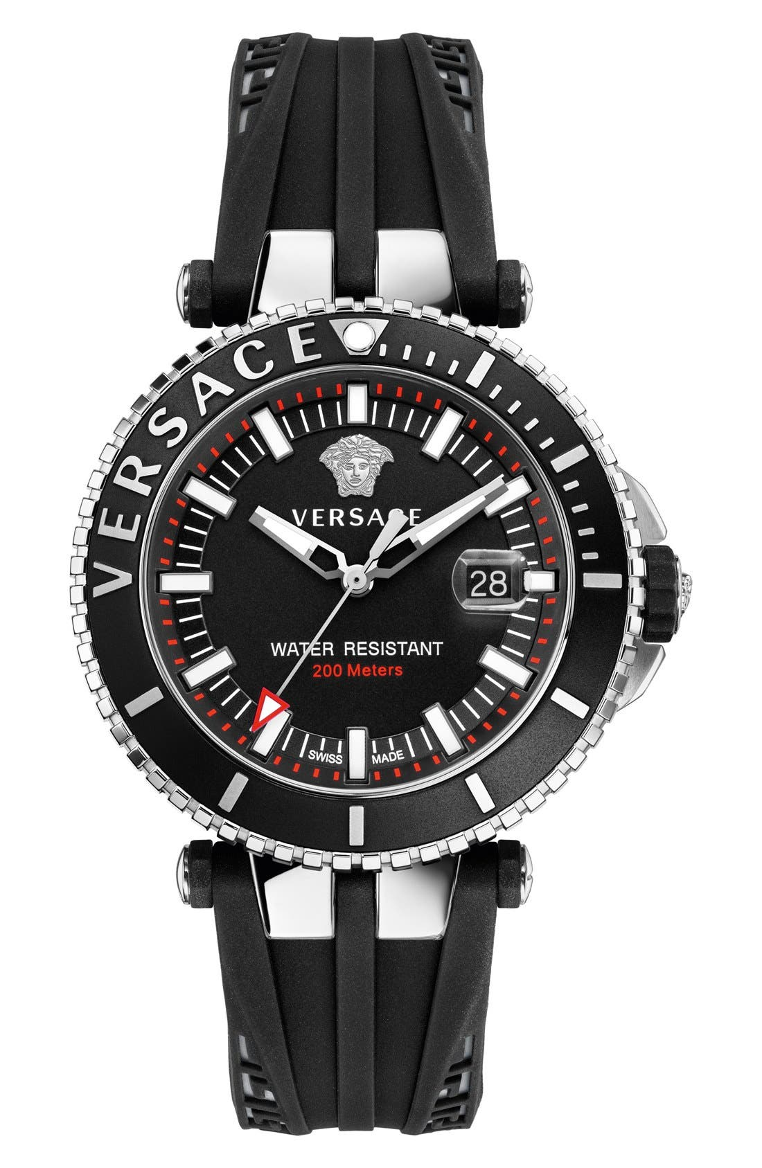 Versace 'V-Race Diver' Silicone Strap Watch, 46mm