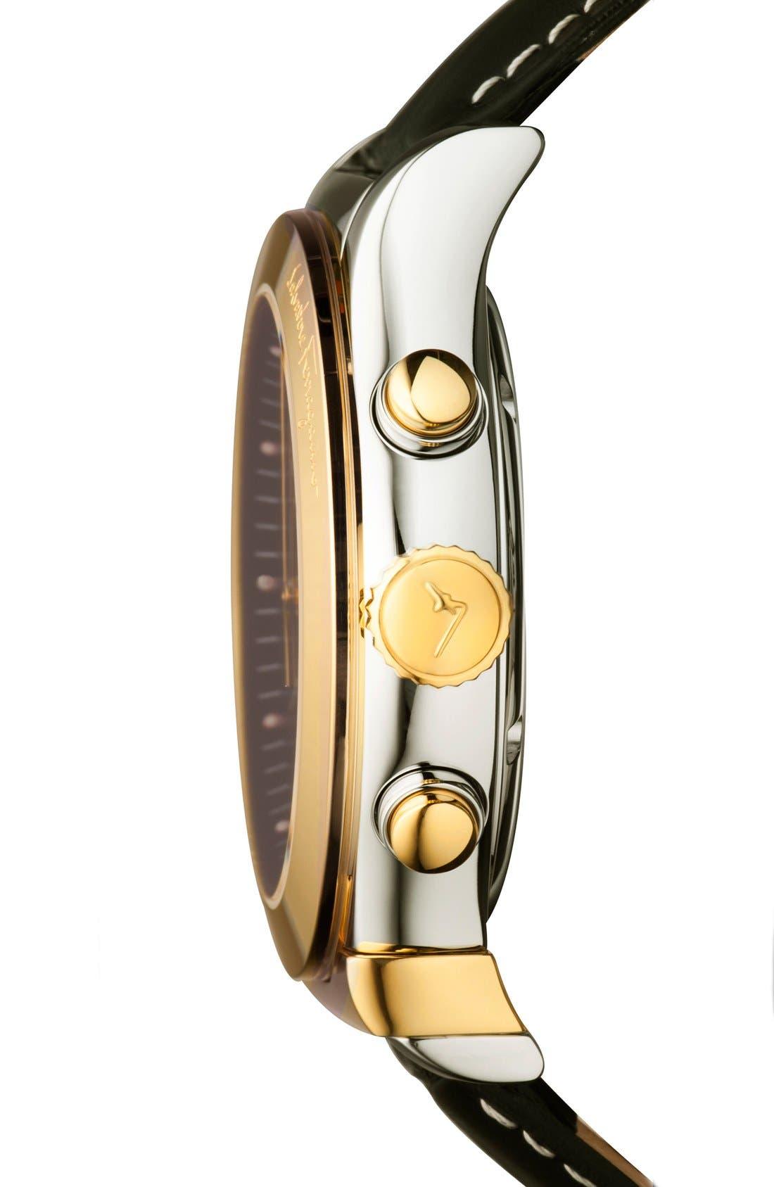 Alternate Image 3  - Salvatore Ferragamo '1898' Chronograph Leather Strap Watch, 42mm